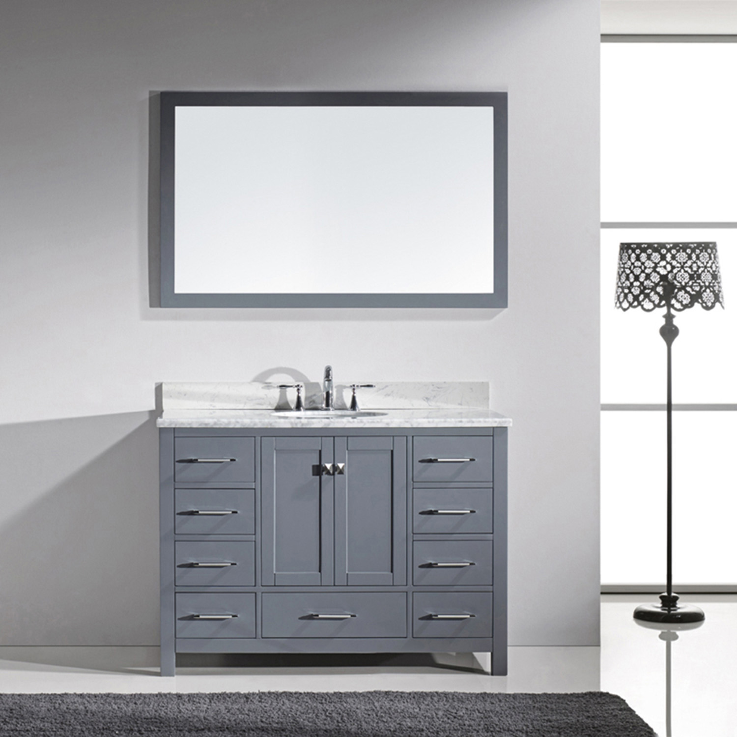 "48"" Cabinet Only in Grey with Top, Faucet and Mirror Options"