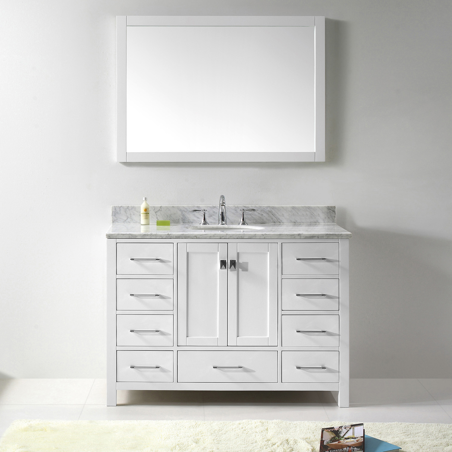 "48"" Cabinet Only in White with Top, Faucet and Mirror Options"