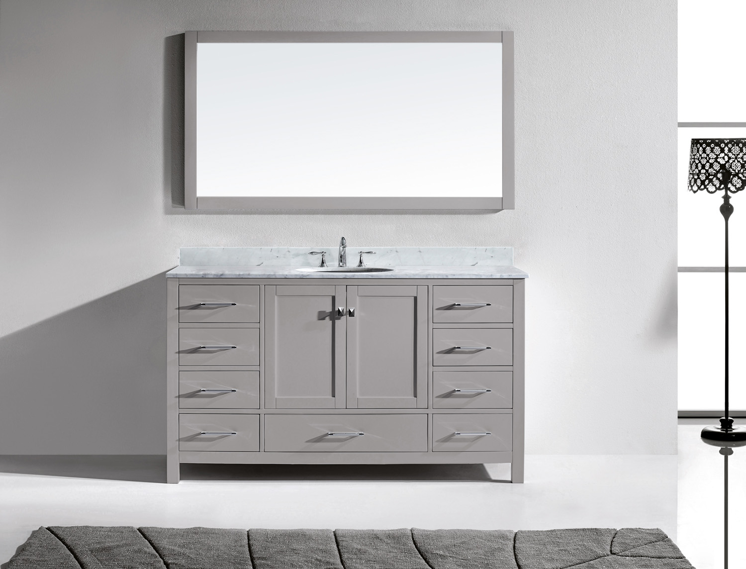"60"" Single Bath Vanity in Cashmere Grey with Marble Top and Round Sink with Mirror"