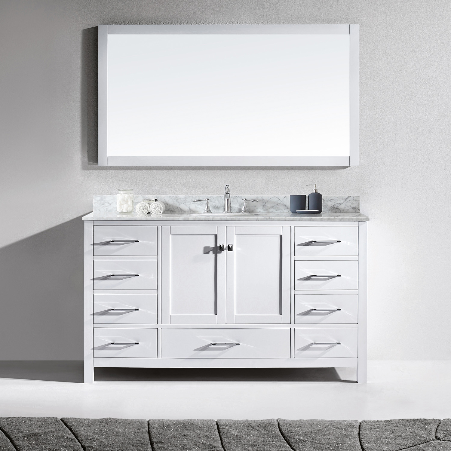 "60"" Single Bath Vanity in White with Marble Top and Round Sink with Mirror"