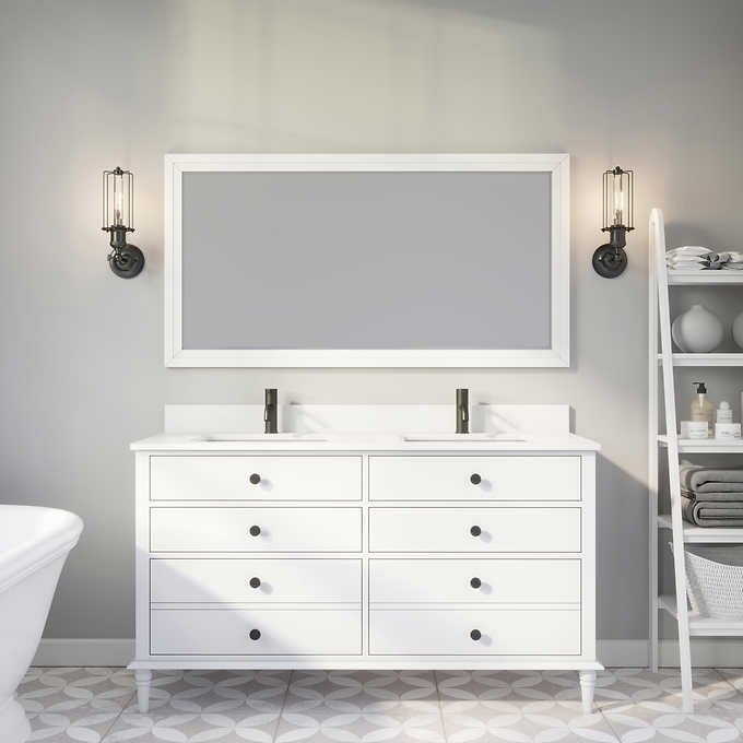 "Issac Edwards Collection 60"" Double Sink Bathroom Vanity in White Finish with Cultured Marble Top"