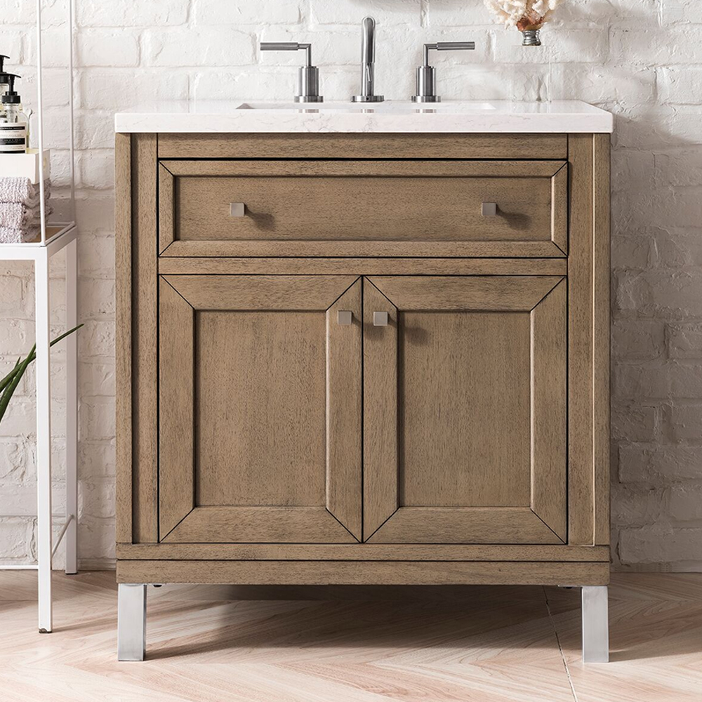 """Chicago 30"""" White Washed Walnut Single Vanity with Top Options"""