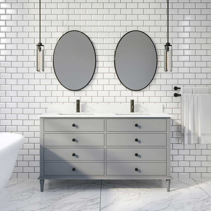 "Issac Edwards Collection 60"" Double Sink Bathroom Vanity in Gray Finish with Cultured Marble Top"