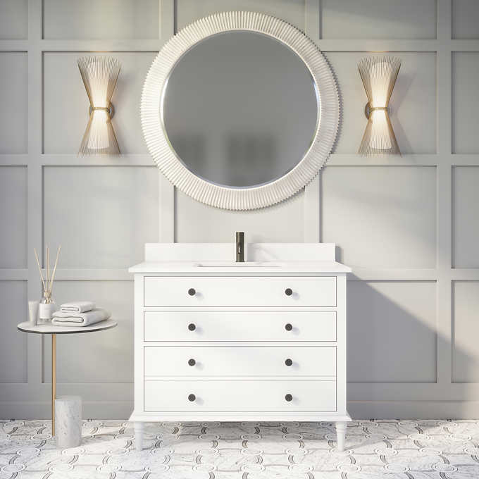 "Issac Edwards Collection 42"" Single Sink Bathroom Vanity in White Finish with Cultured Marble Top"