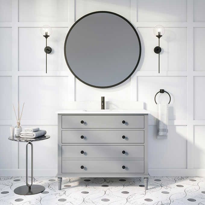 "Issac Edwards Collection 42"" Single Sink Bathroom Vanity in Gray Finish with Cultured Marble Top"