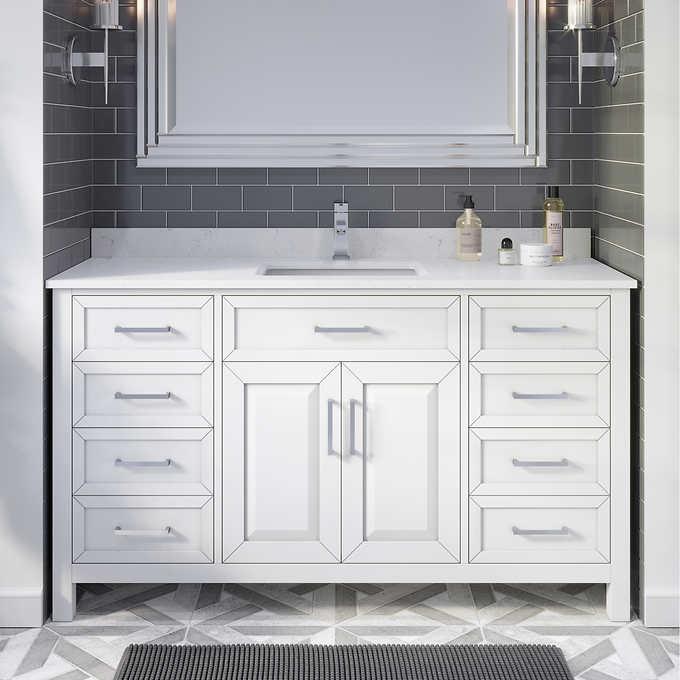 "Issac Edwards Collection 60"" Single Sink Bathroom Vanity in White Finish with Cultured Marble Top"