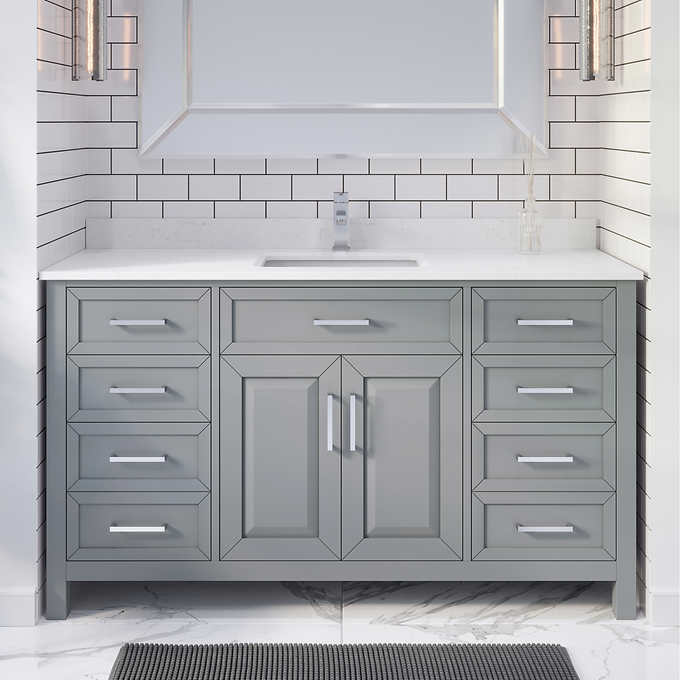 "Issac Edwards Collection 60"" Single Sink Bathroom Vanity in Oxford Gray Finish with Cultured Marble Top"