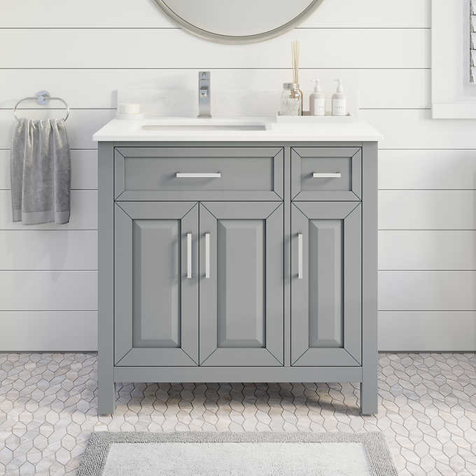 "36"" Single Sink Vanity Gray Finish with Cultured Marble Countertop with Matching Backsplash"