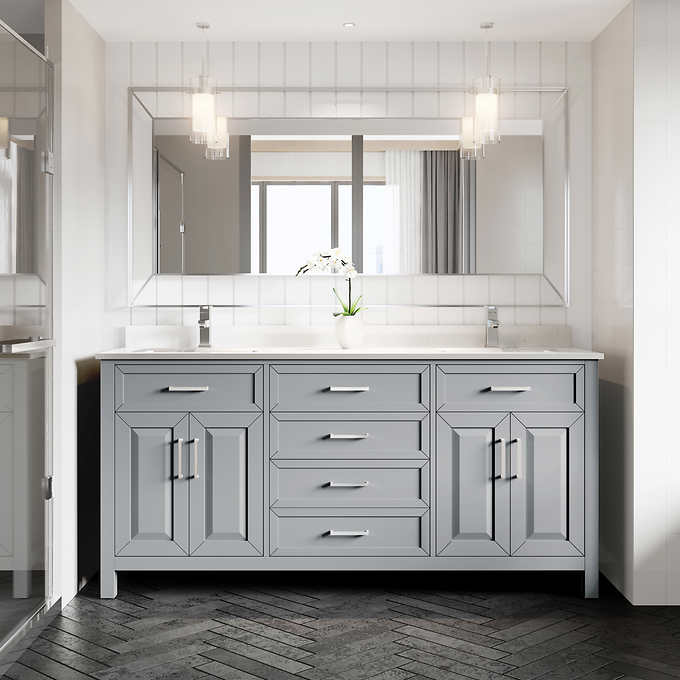 "72"" Double Sink Vanity Gray Finish with Cultured Marble Countertop with Matching Backsplash"