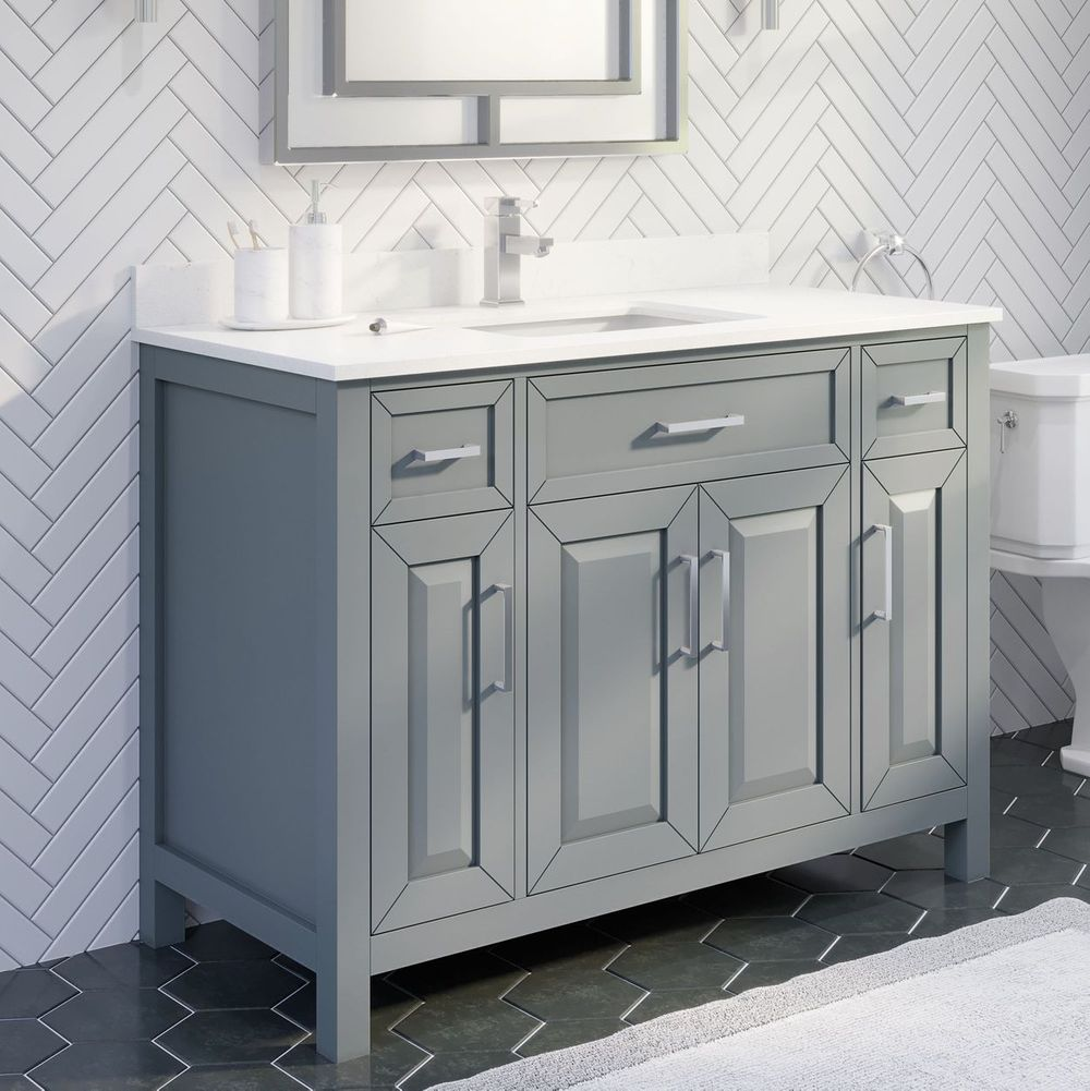 "48"" Single Sink Vanity Gray Finish with Cultured Marble Countertop with Matching Backsplash"