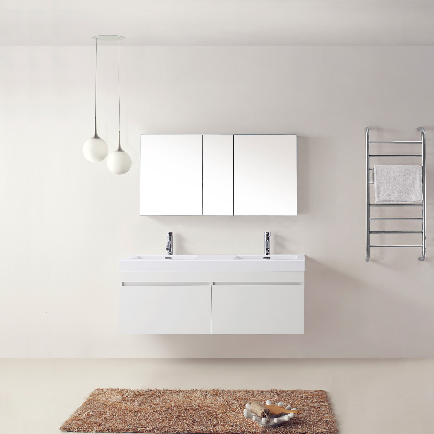 "55"" Double Bath Vanity in Gloss White with White Polymarble Top and Square Sink with Polished Chrome Faucet"