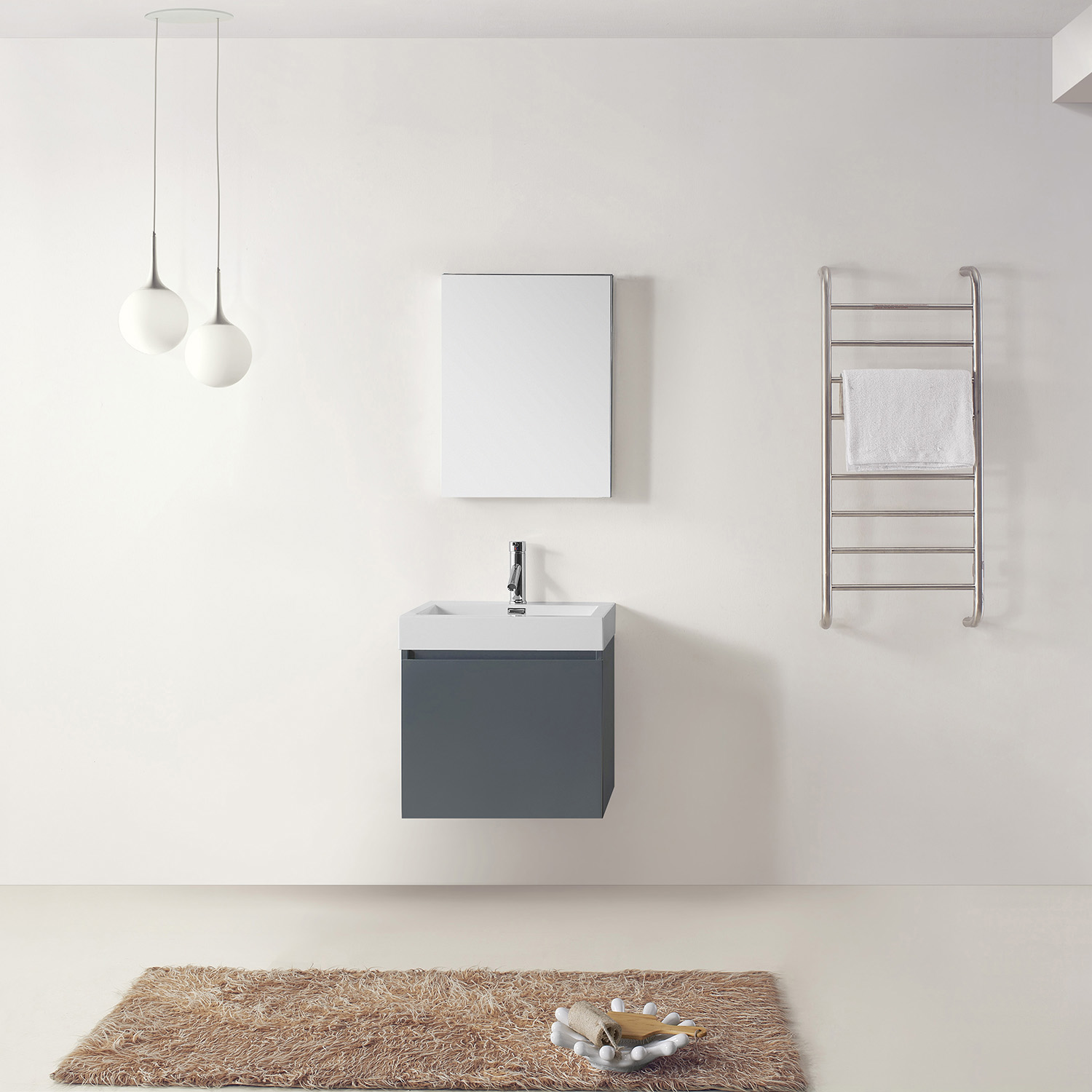 """24"""" Single Bath Vanity in Grey with White Polymarble Top and Square Sink"""