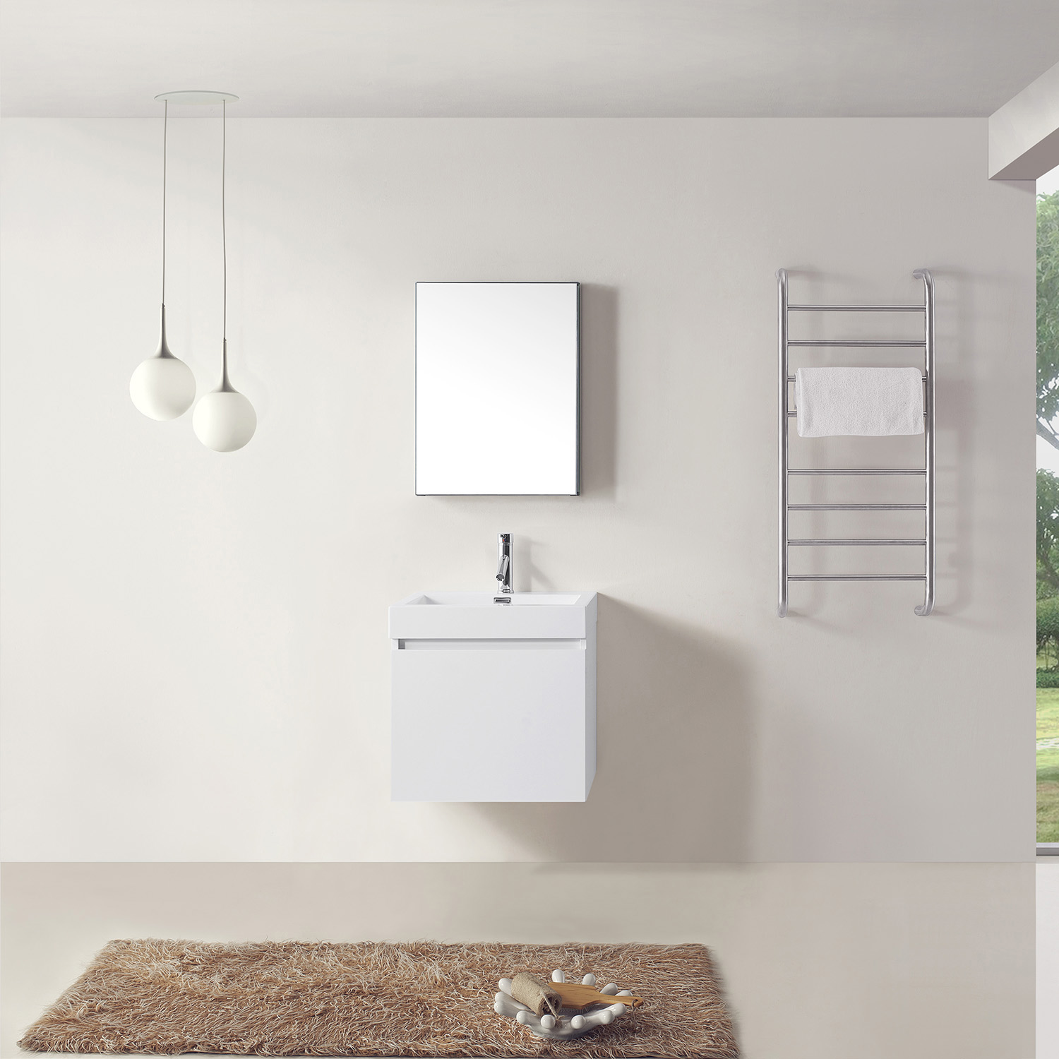 """24"""" Single Bath Vanity in Gloss White with White Polymarble Top and Square Sink"""