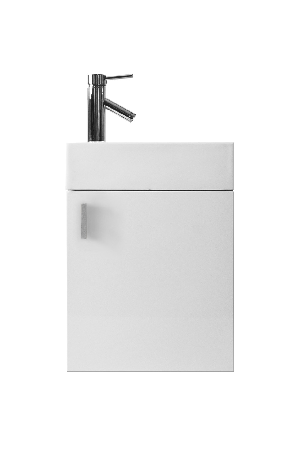 "16"" Single Bath Vanity in Gloss White with White Polymarble Top and Square Sink with Polished Chrome Faucet"