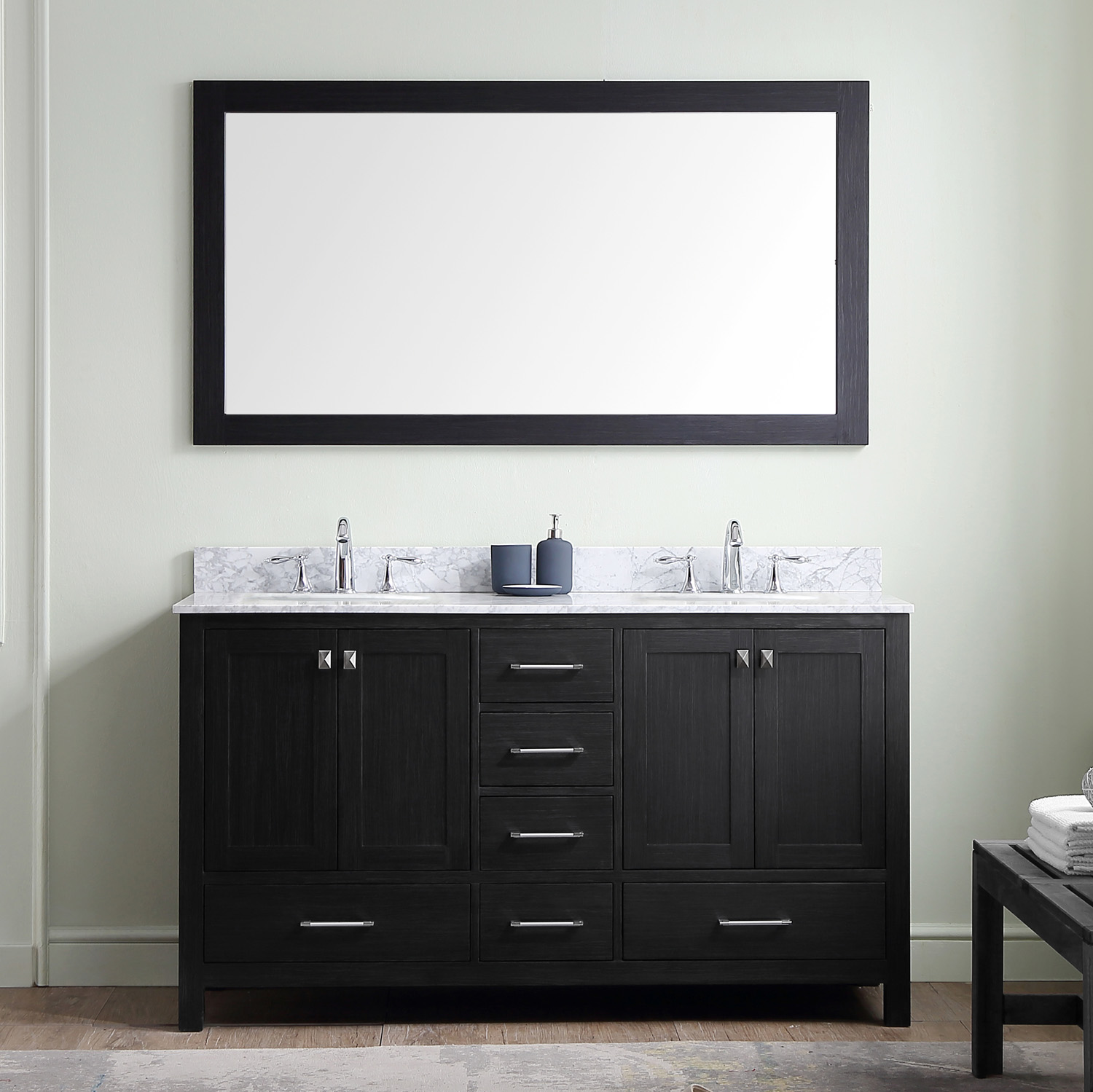 "60"" Cabinet Only in Zebra Grey with Faucet and Mirror Options"