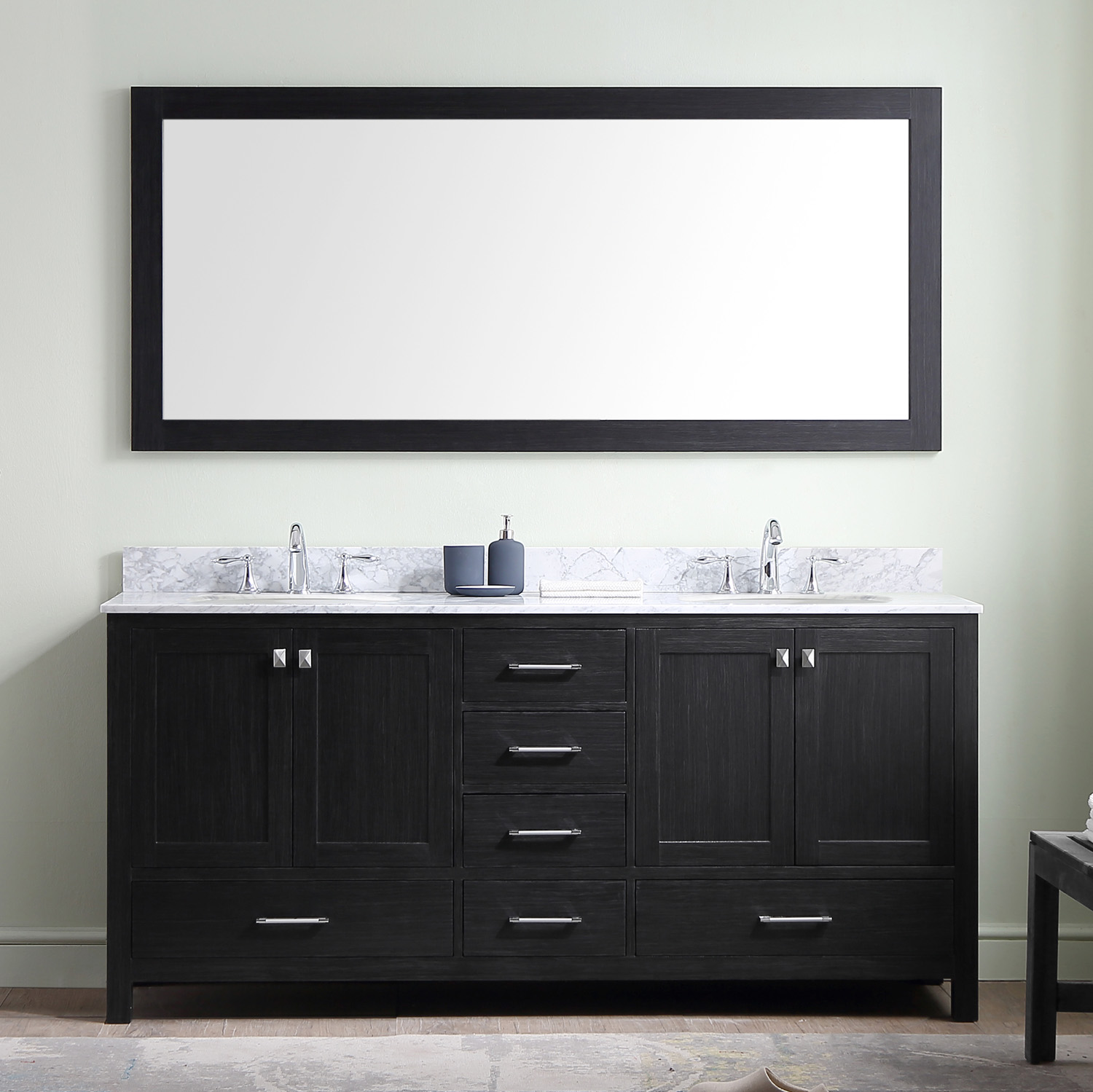 "72"" Cabinet Only in Zebra Grey with Top and Mirror Options"