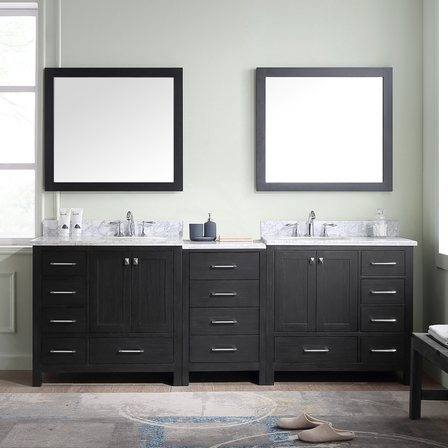 "90"" Double Bath Vanity in Zebra Grey with Marble Top and Round Sink with Mirrors"