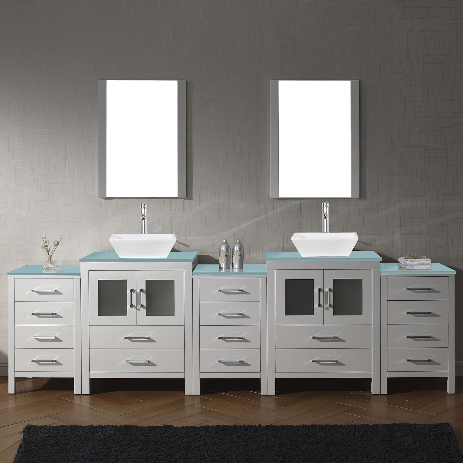 "110"" Double Bath Vanity in White with Aqua Tempered Glass Top and Square Sink with Polished Chrome Faucet and Mirrors"