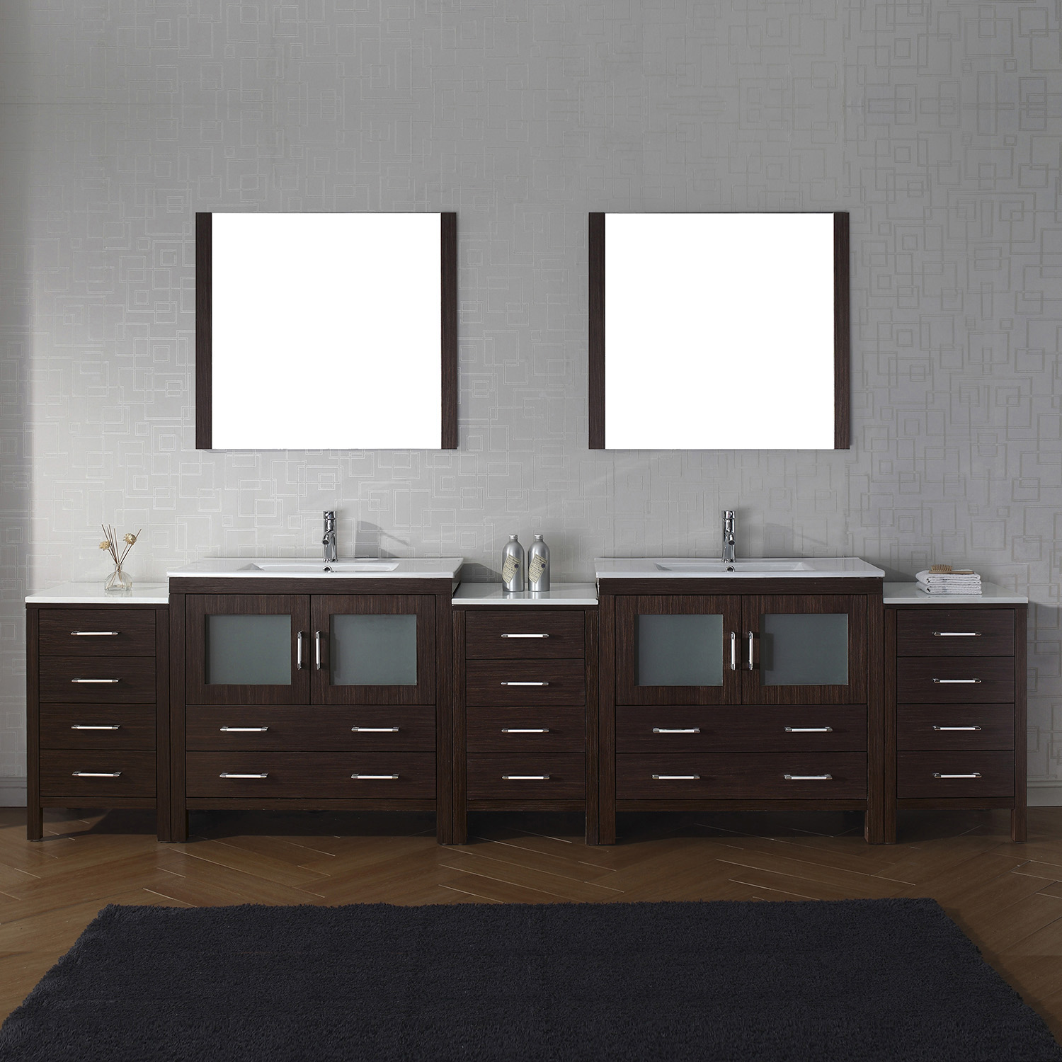 "118"" Double Bath Vanity in Espresso with Slim White Ceramic Top and Square Sink with Polished Chrome Faucet and Mirrors"