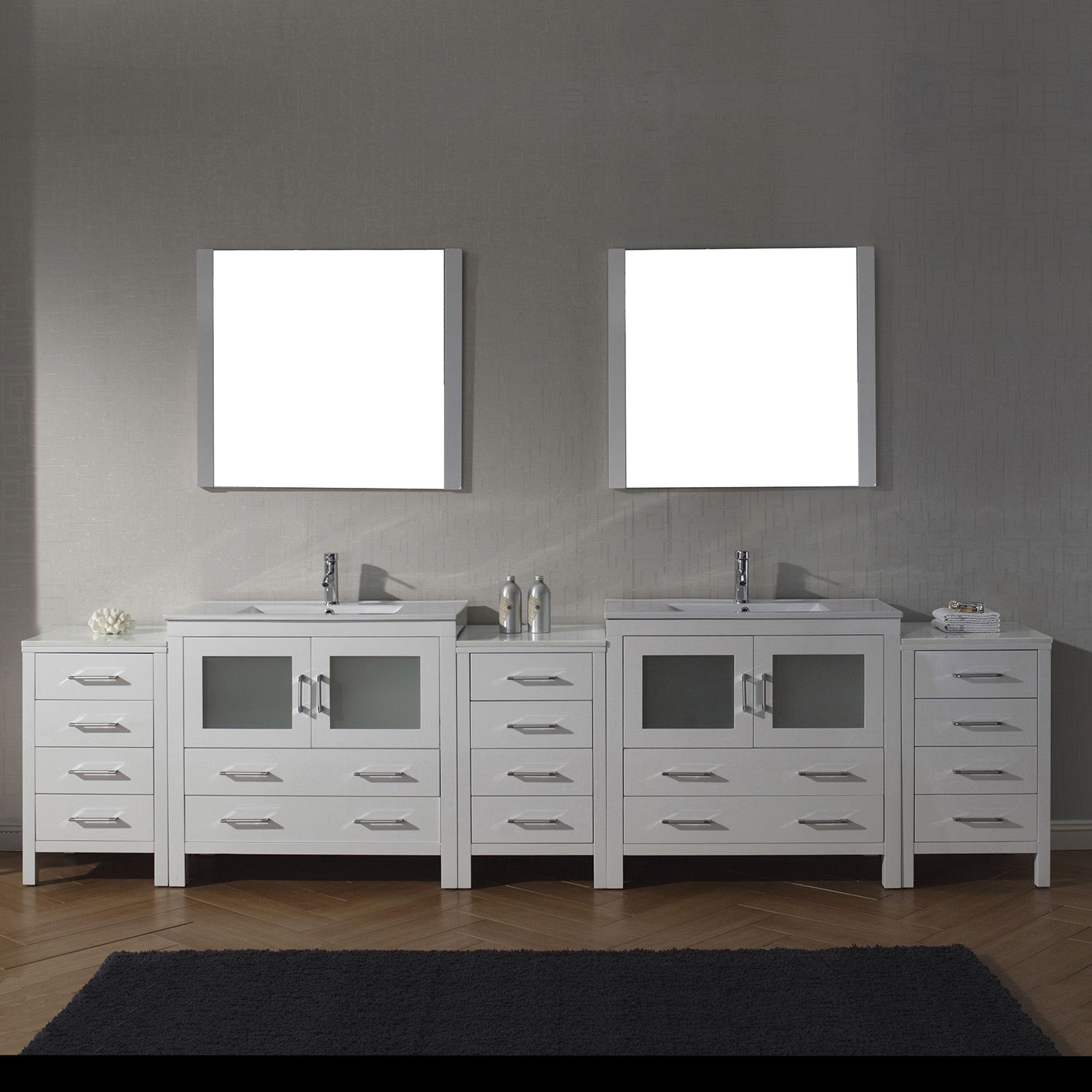 "118"" Double Bath Vanity in White with Slim White Ceramic Top and Square Sink with Polished Chrome Faucet and Mirrors"