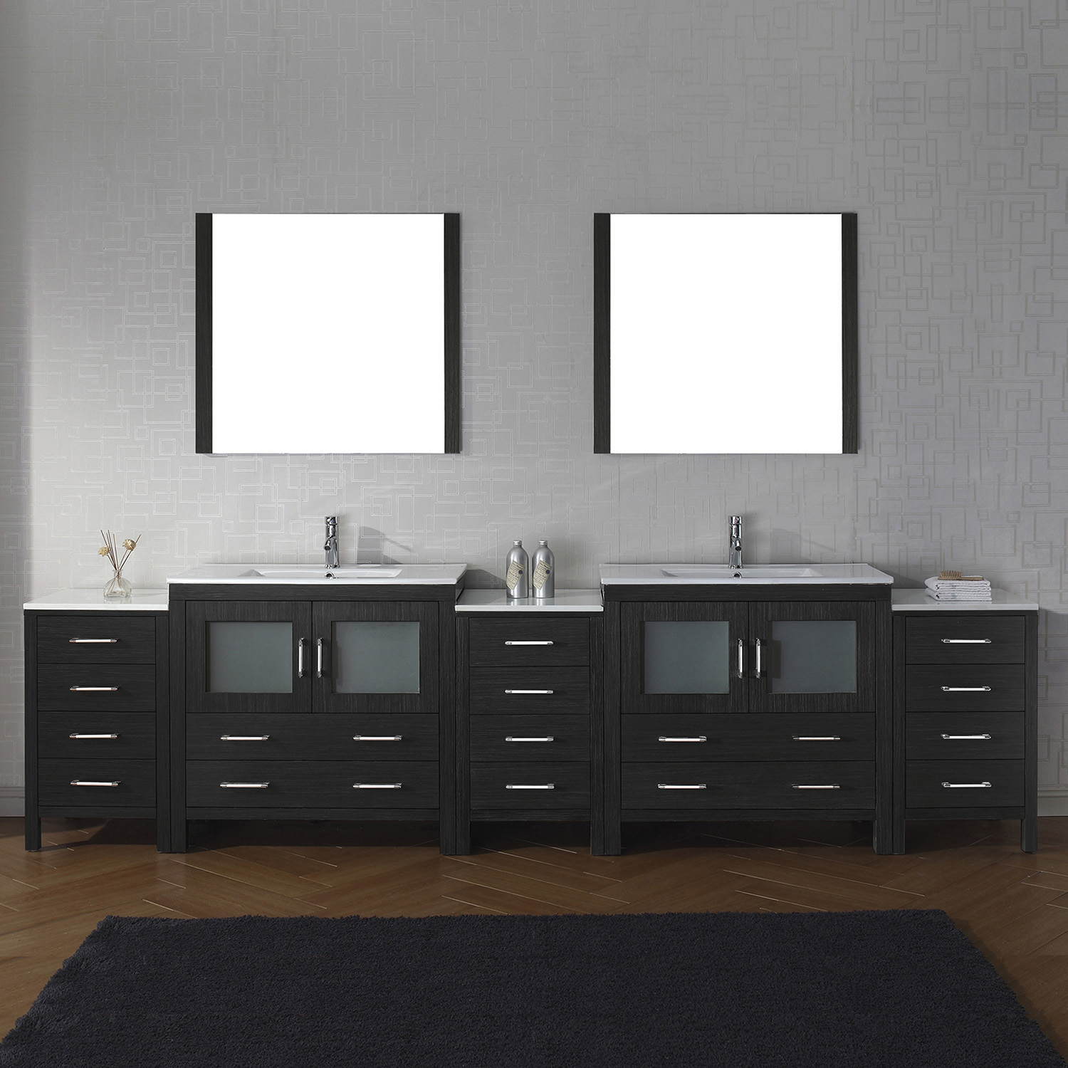 "118"" Double Bath Vanity in Zebra Grey with Slim White Ceramic Top and Square Sink with Polished Chrome Faucet and Mirrors"