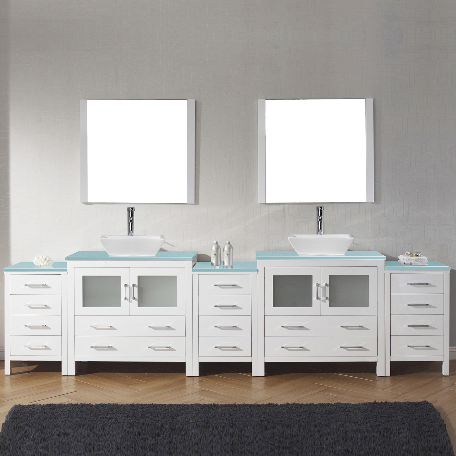"126"" Double Bath Vanity in White with Aqua Tempered Glass Top and Square Sink with Brushed Nickel Faucet and Mirrors"