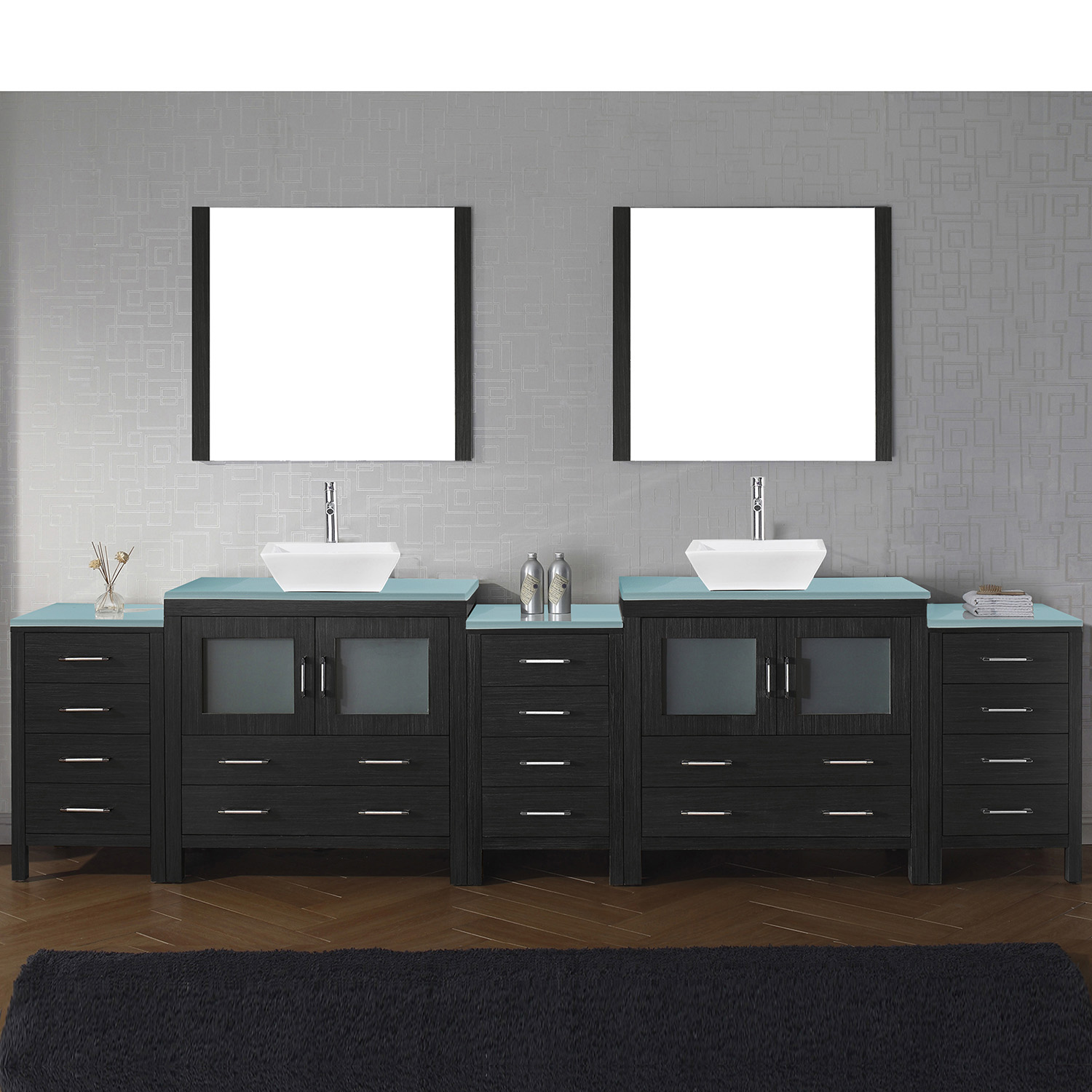 "126"" Double Bath Vanity in Zebra Grey with Aqua Tempered Glass Top and Square Sink with Brushed Nickel Faucet and Mirrors"
