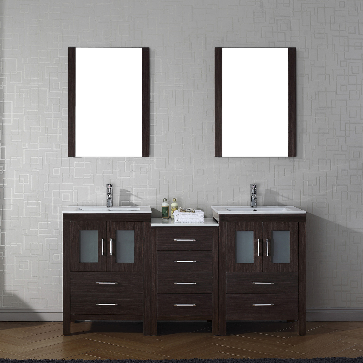 "66"" Double Bath Vanity in Espresso with Slim White Ceramic Top and Square Sink with Polished Chrome Faucet and Mirrors"