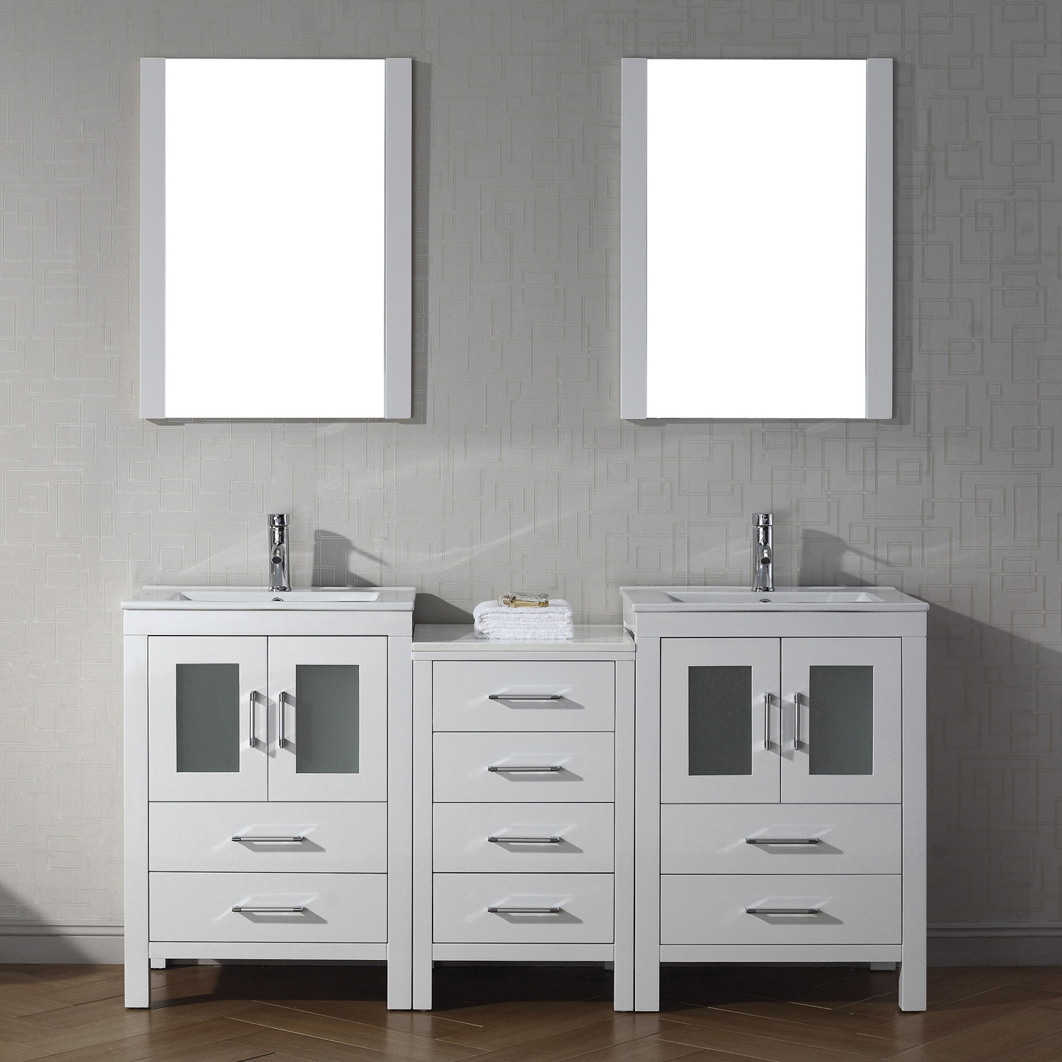 "66"" Double Bath Vanity in White with Slim White Ceramic Top and Square Sink with Polished Chrome Faucet and Mirrors"