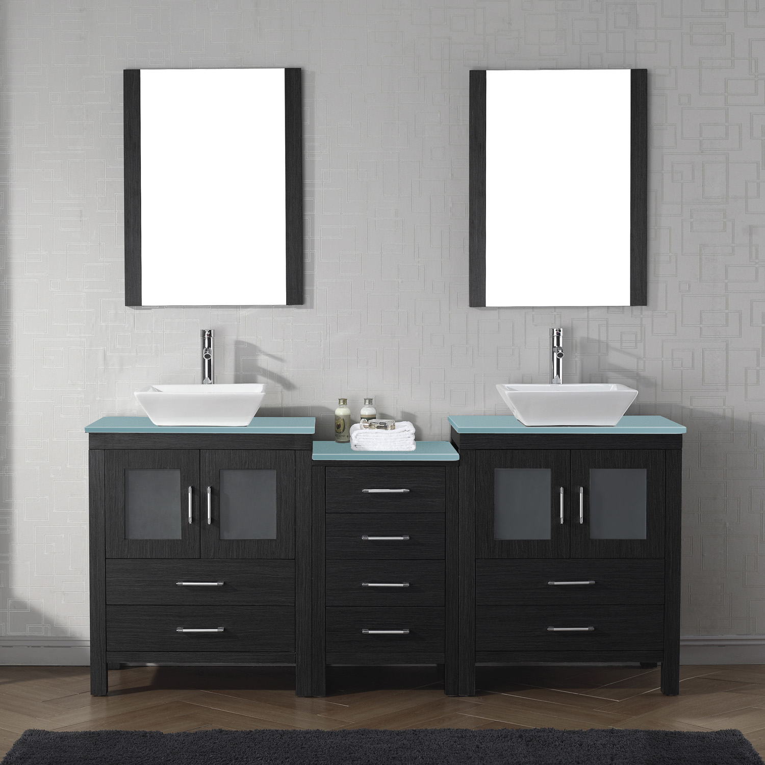 "74"" Double Bath Vanity in Zebra Grey with Aqua Tempered Glass Top and Square Sink with Brushed Nickel Faucet and Mirrors"