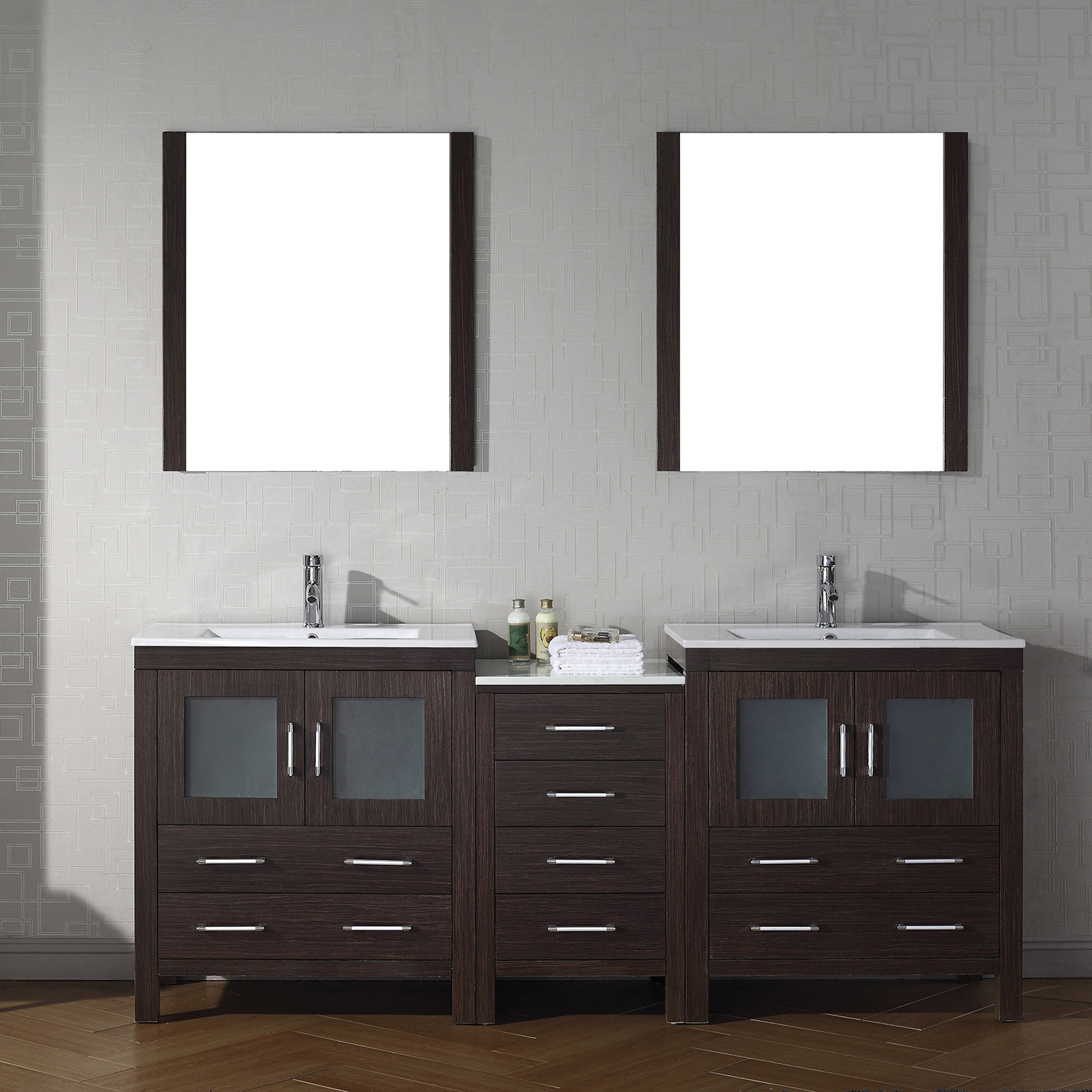 "78"" Double Bath Vanity in Espresso with Slim White Ceramic Top and Square Sink with Polished Chrome Faucet and Mirrors"