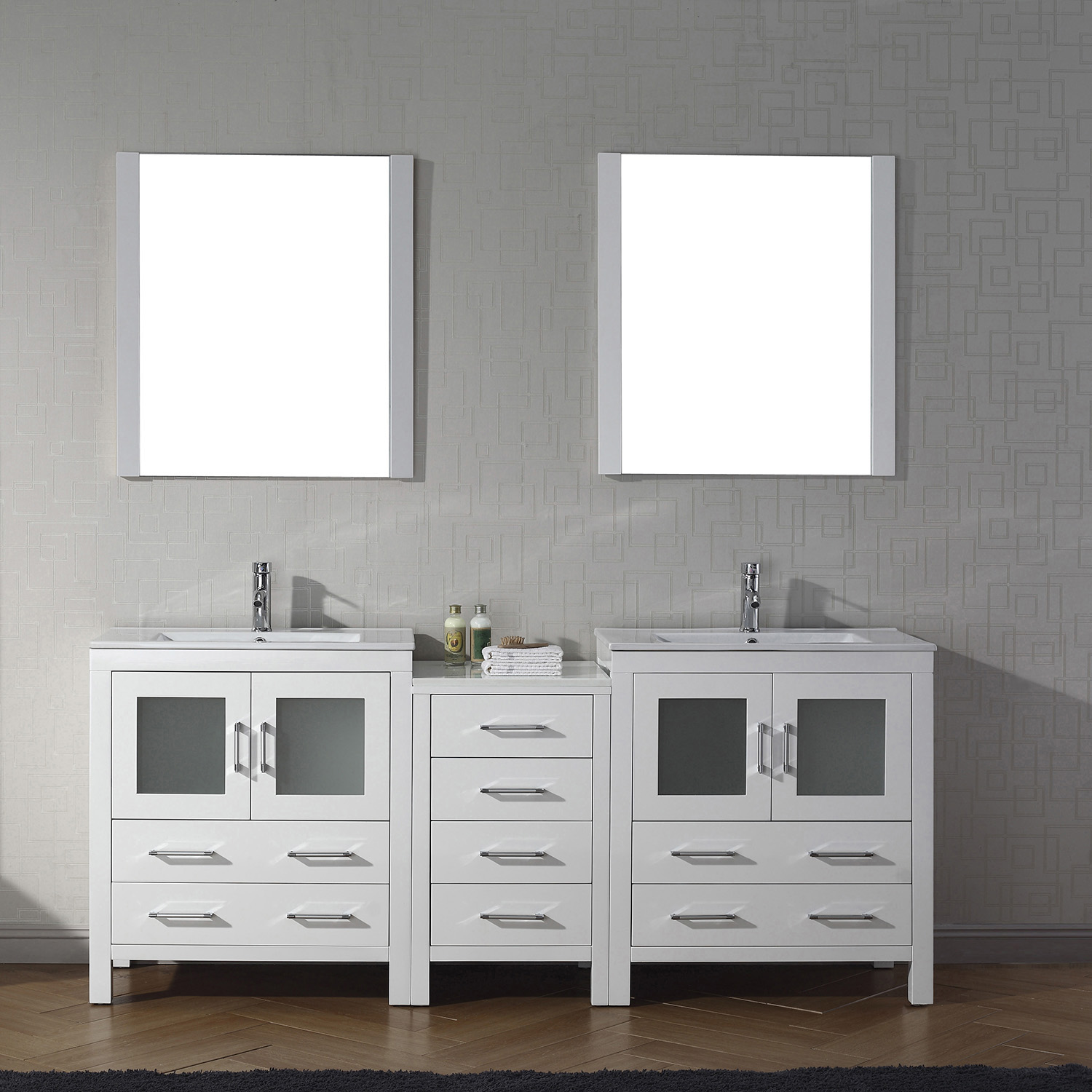 "78"" Double Bath Vanity in White with Slim White Ceramic Top and Square Sink with Polished Chrome Faucet and Mirrors"