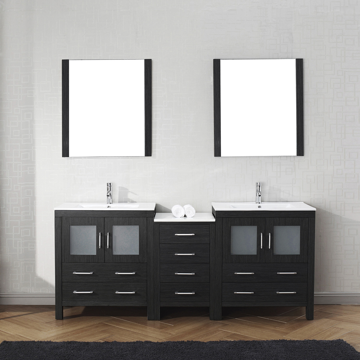 "78"" Double Bath Vanity in Zebra Grey with Slim White Ceramic Top and Square Sink with Polished Chrome Faucet and Mirrors"