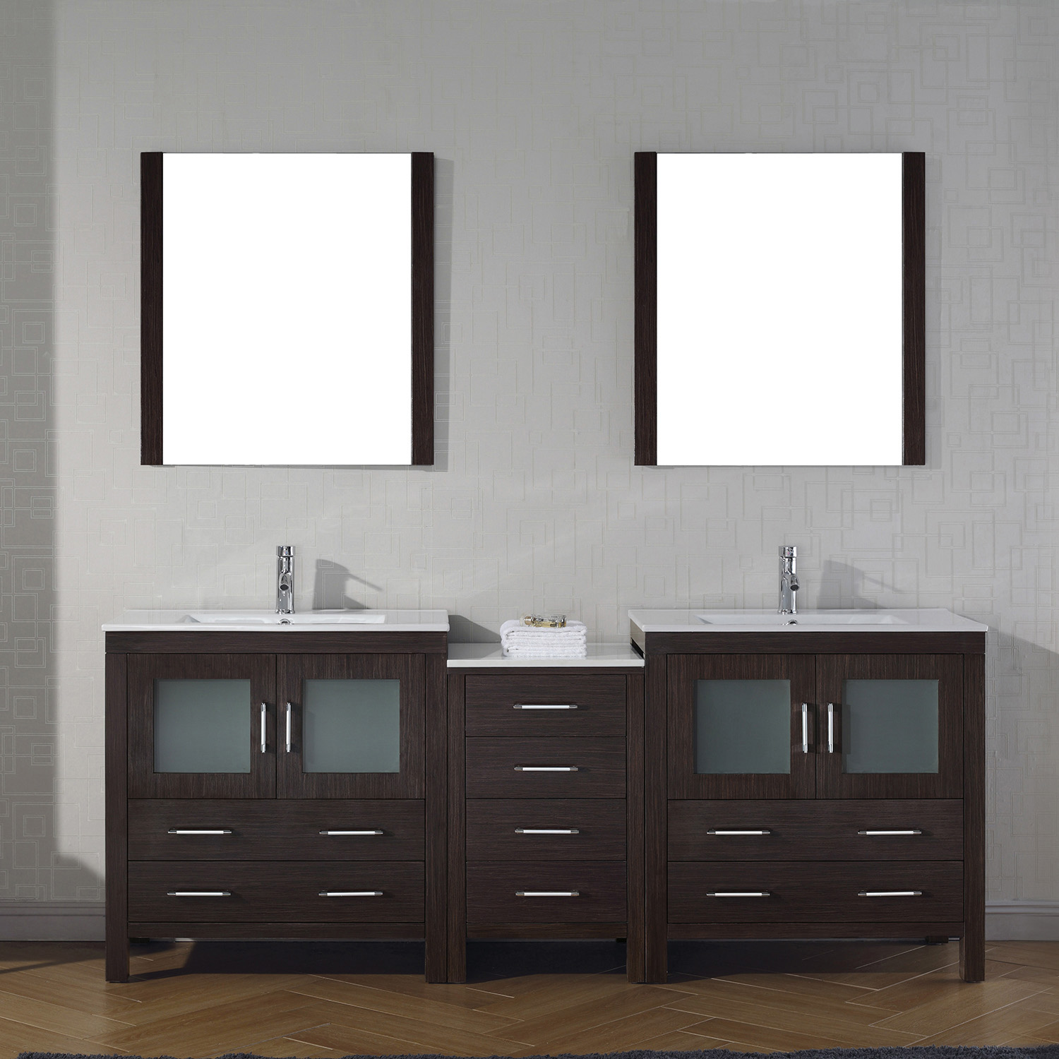"82"" Double Bath Vanity in Espresso with Slim White Ceramic Top and Square Sink with Polished Chrome Faucet and Mirrors"
