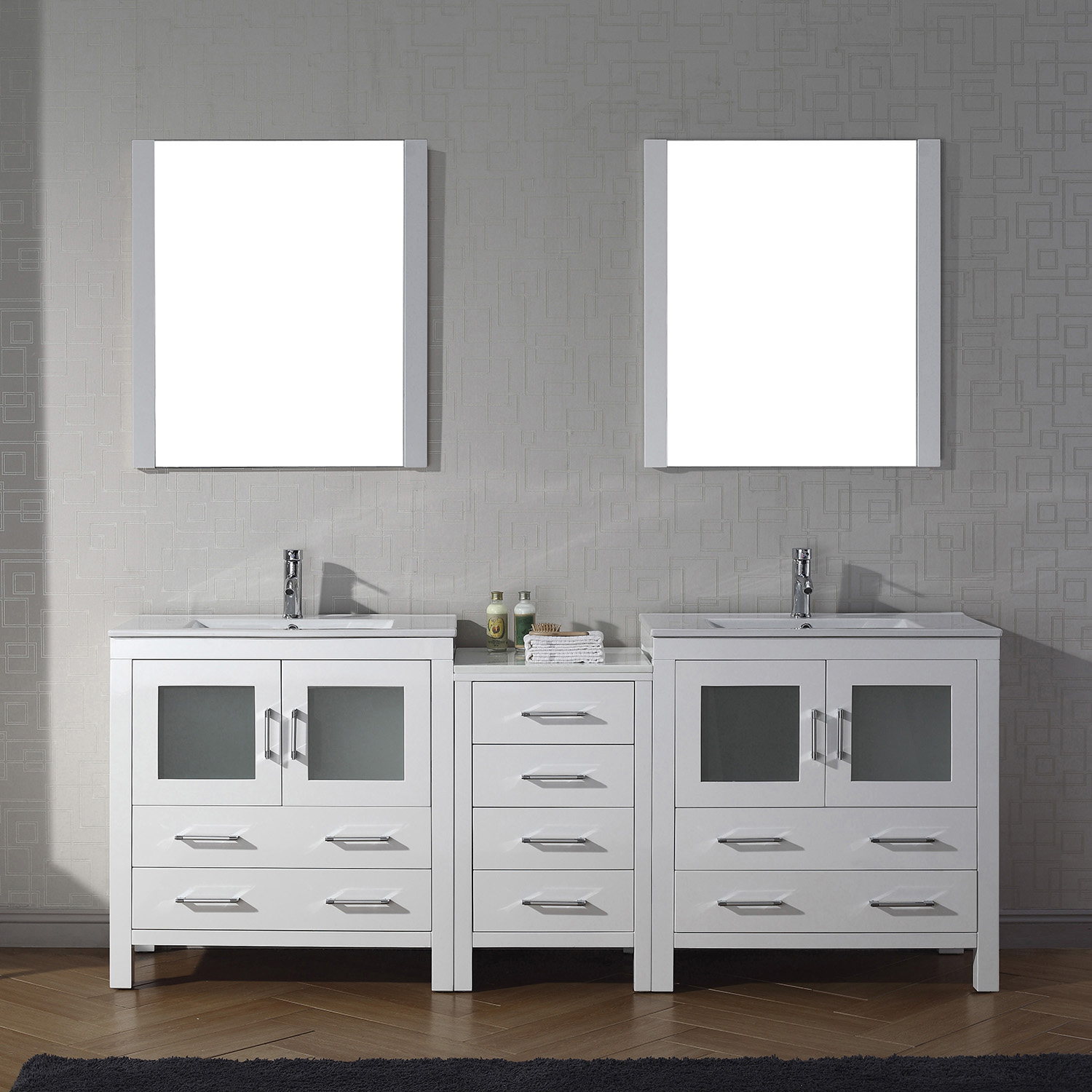 "82"" Double Bath Vanity in White with Slim White Ceramic Top and Square Sink with Polished Chrome Faucet and Mirrors"