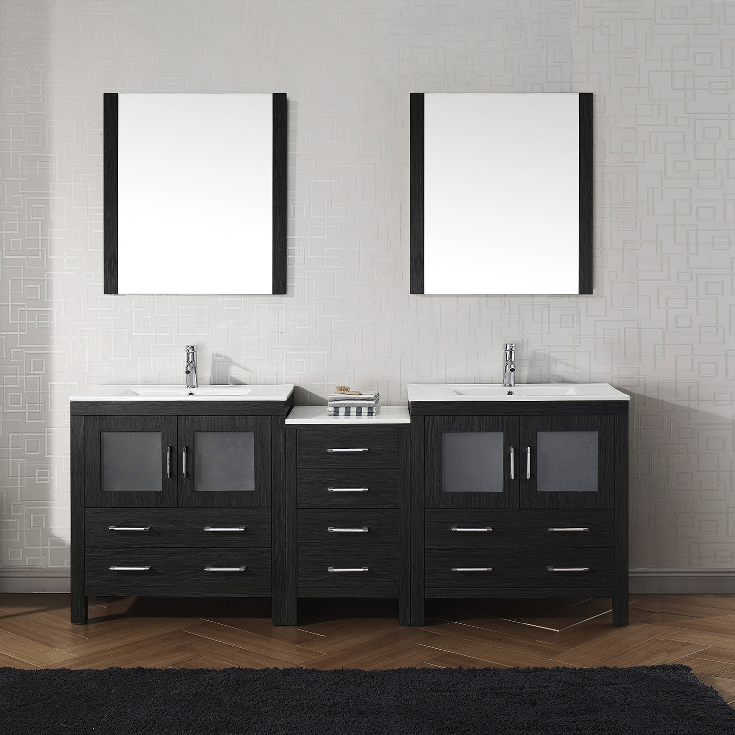 "82"" Double Bath Vanity in Zebra Grey with Slim White Ceramic Top and Square Sink with Polished Chrome Faucet and Mirrors"