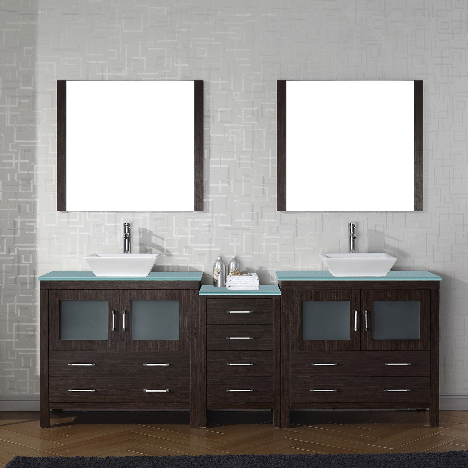 "90"" Double Bath Vanity in Espresso with Aqua Tempered Glass Top and Square Sink with Polished Chrome Faucet and Mirrors"