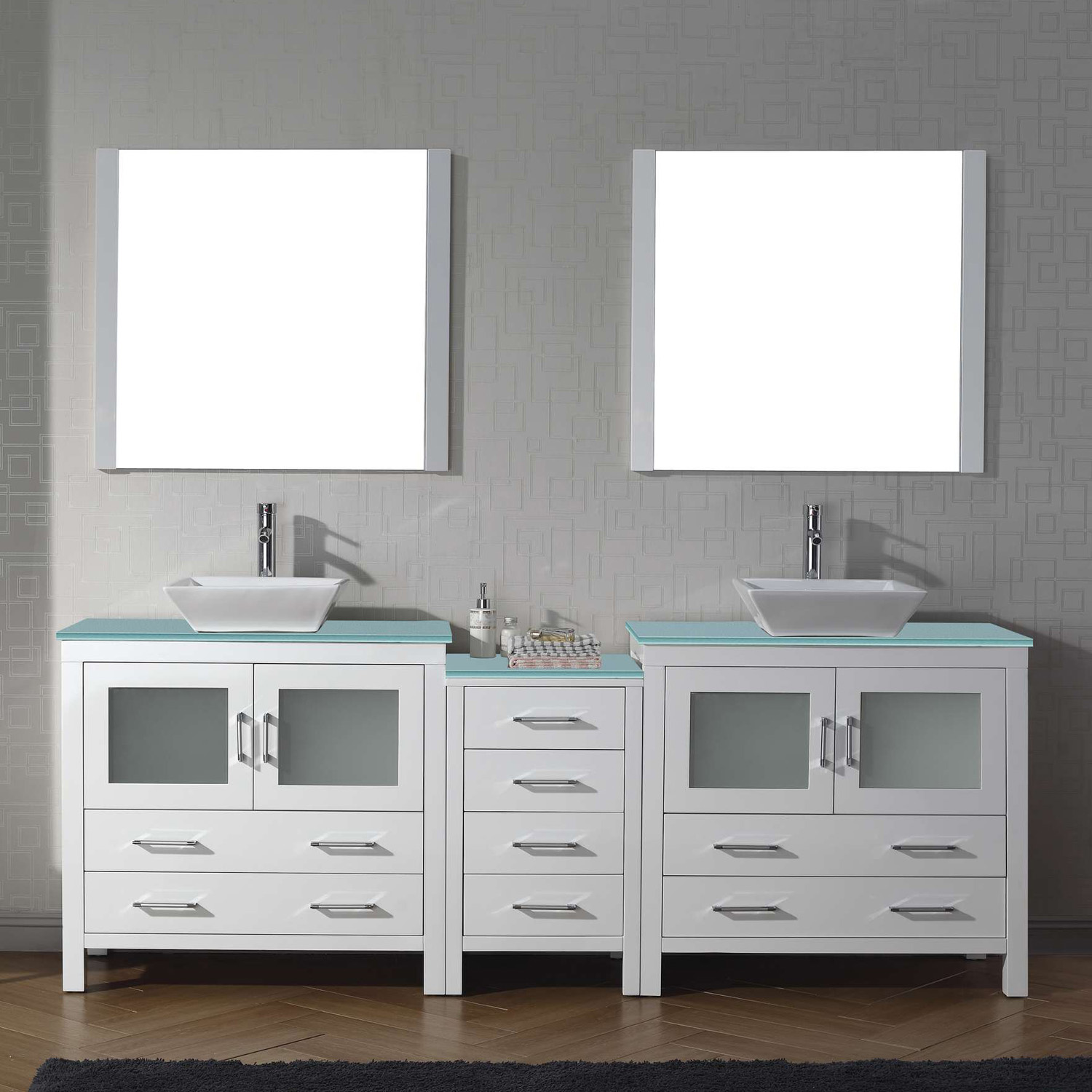 "90"" Double Bath Vanity in White with Aqua Tempered Glass Top and Square Sink with Polished Chrome Faucet and Mirrors"