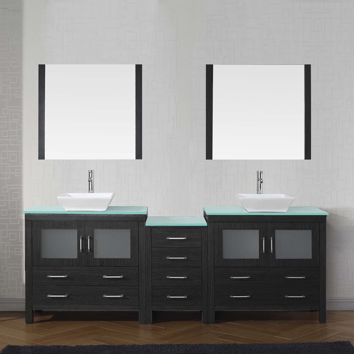 "90"" Double Bath Vanity in Zebra Grey with Aqua Tempered Glass Top and Square Sink with Polished Chrome Faucet and Mirrors"