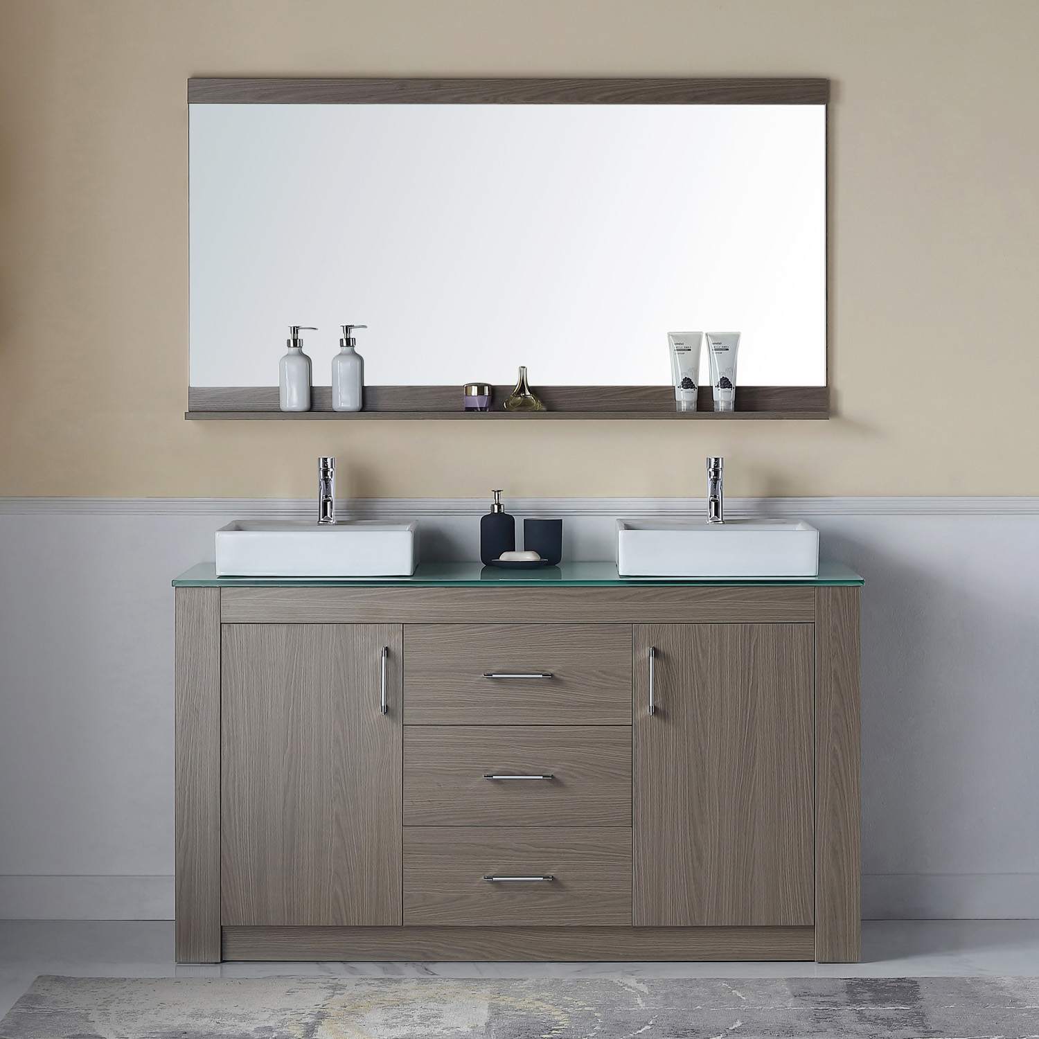 "60"" Double Bath Vanity in Grey Oak with Aqua Tempered Glass Top and Square Sink with Polished Chrome Faucet and Mirror"
