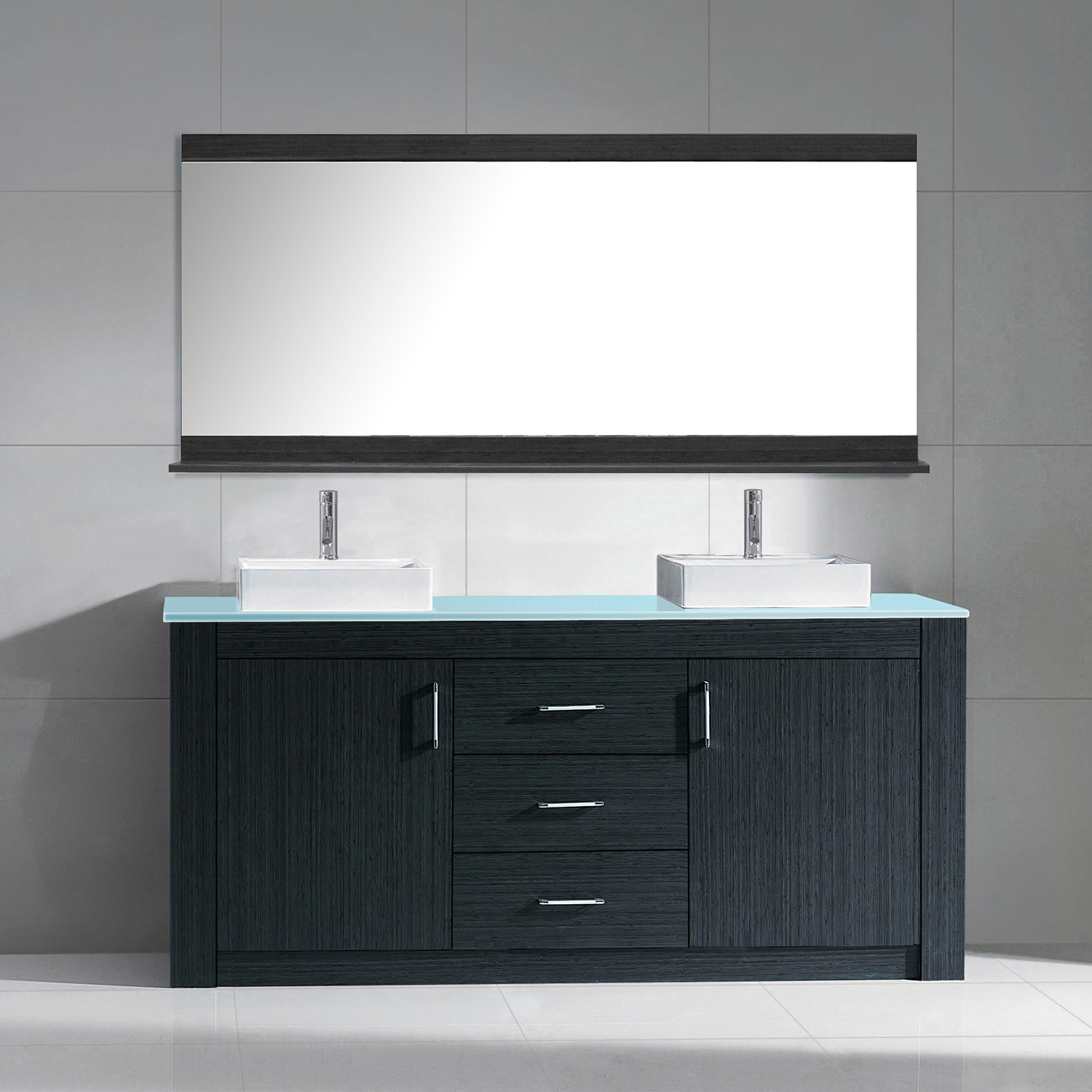 "60"" Double Bath Vanity in Grey with Aqua Tempered Glass Top and Square Sink with Polished Chrome Faucet and Mirror"