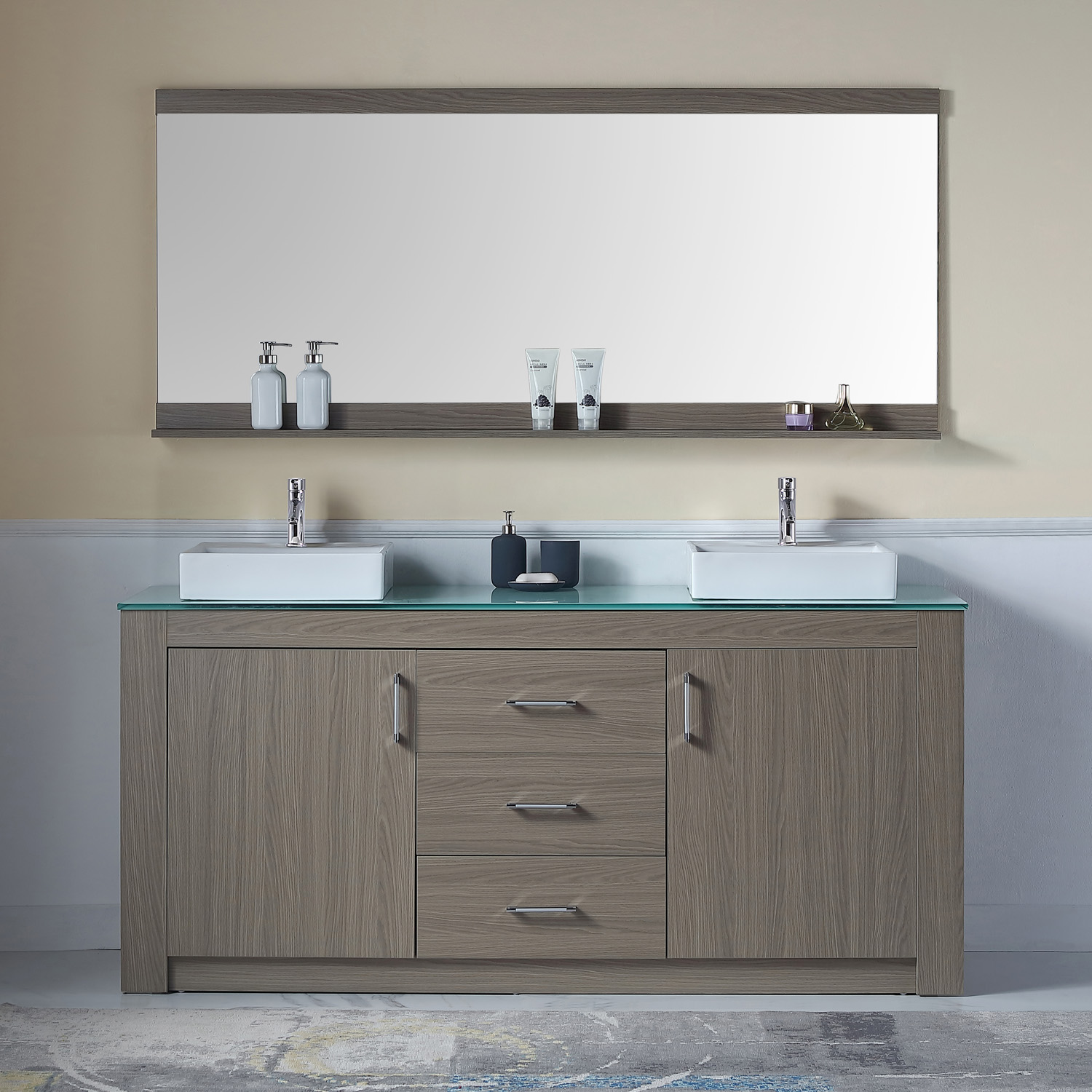 "72"" Double Bath Vanity in Grey Oak with Aqua Tempered Glass Top and Square Sink with Polished Chrome Faucet and Mirror"