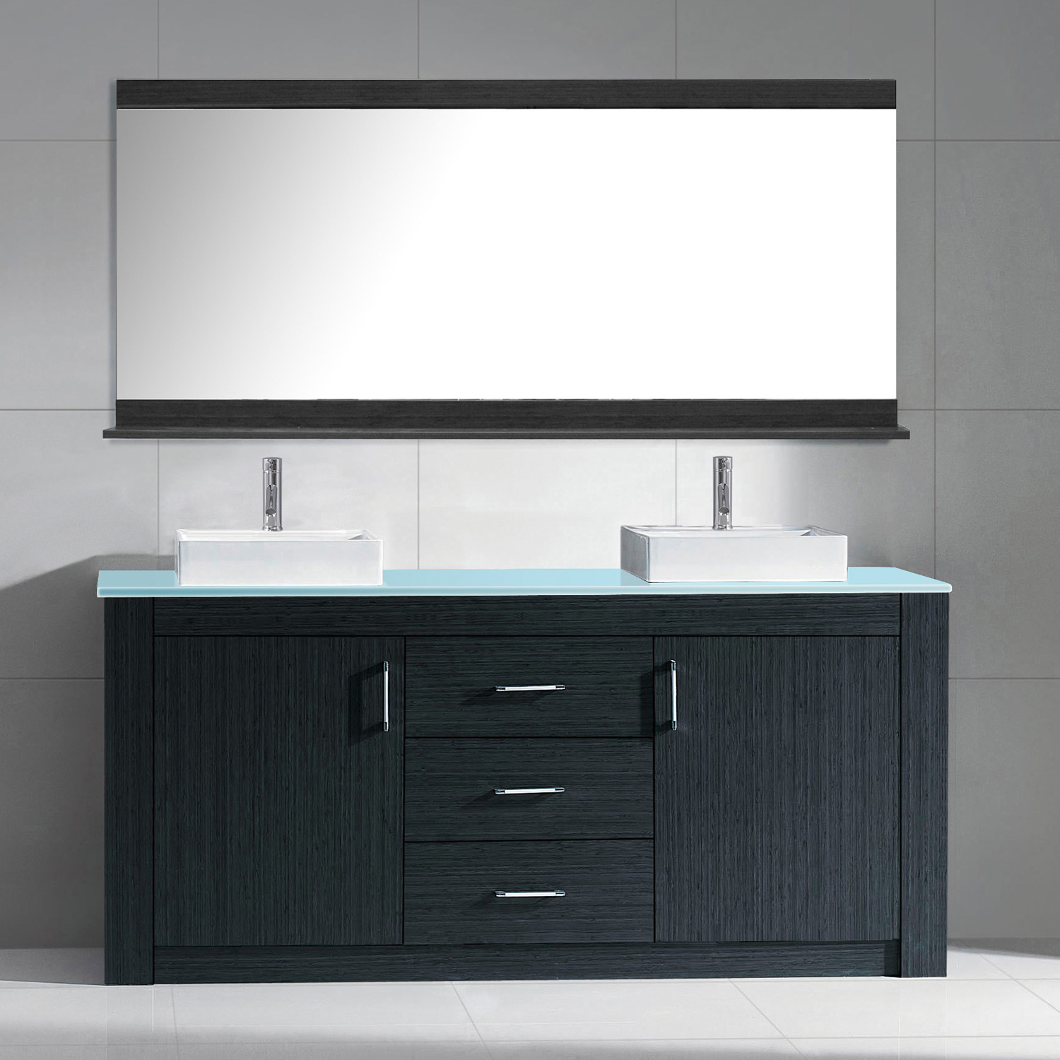 "72"" Double Bath Vanity in Grey with Aqua Tempered Glass Top and Square Sink with Polished Chrome Faucet and Mirror"