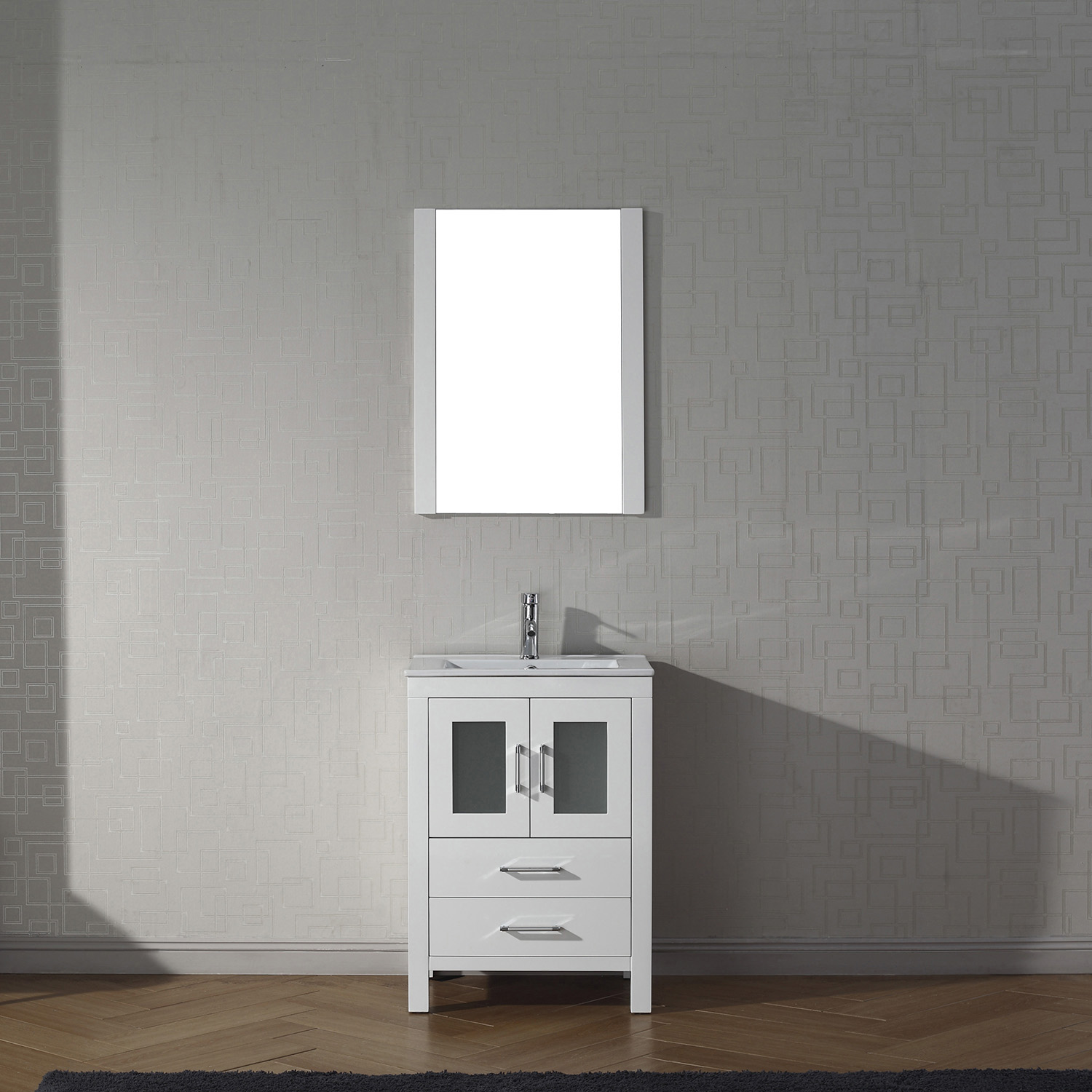 "24"" Cabinet Only in White with Top, Faucet, Mirror and Sink Options"
