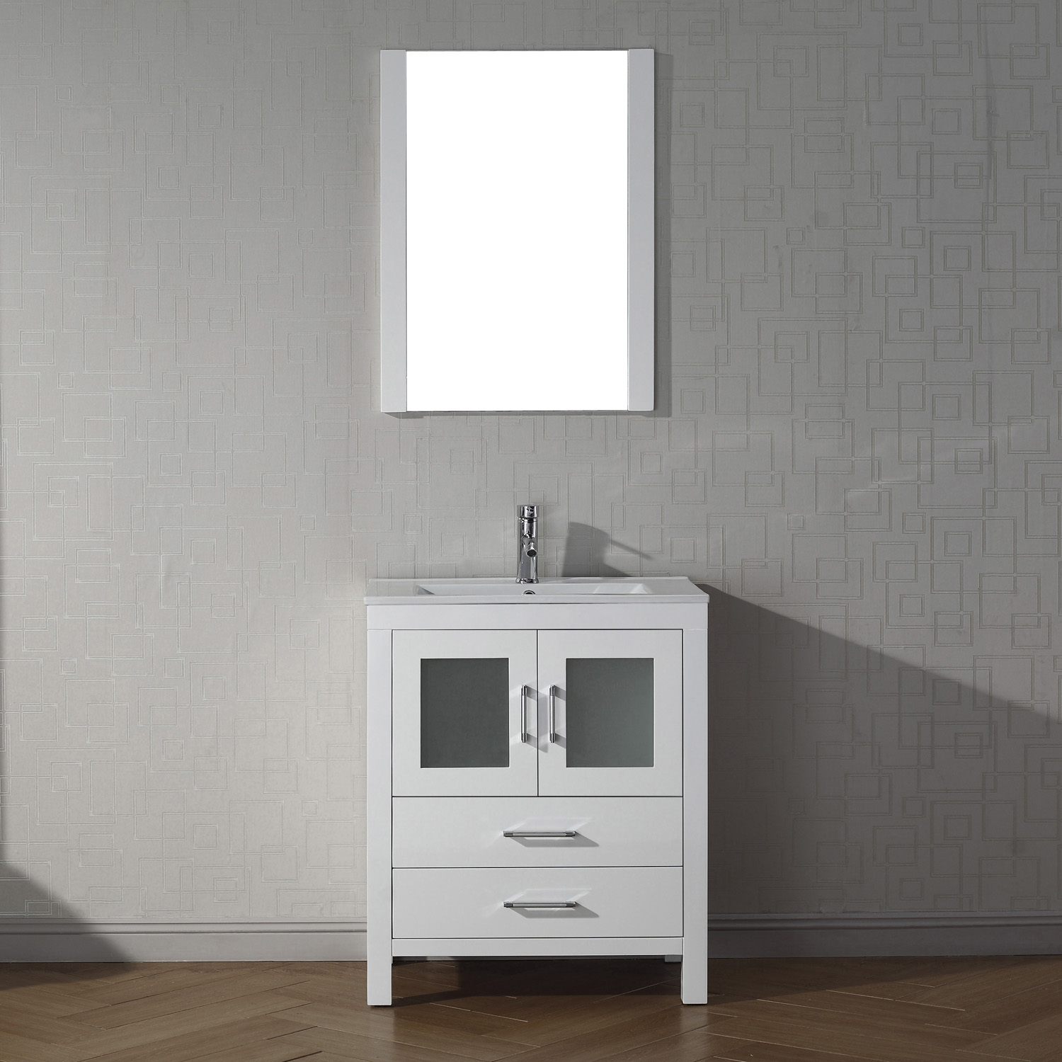 "28"" Cabinet Only in White with Top, Faucet, Mirror and Sink Options"