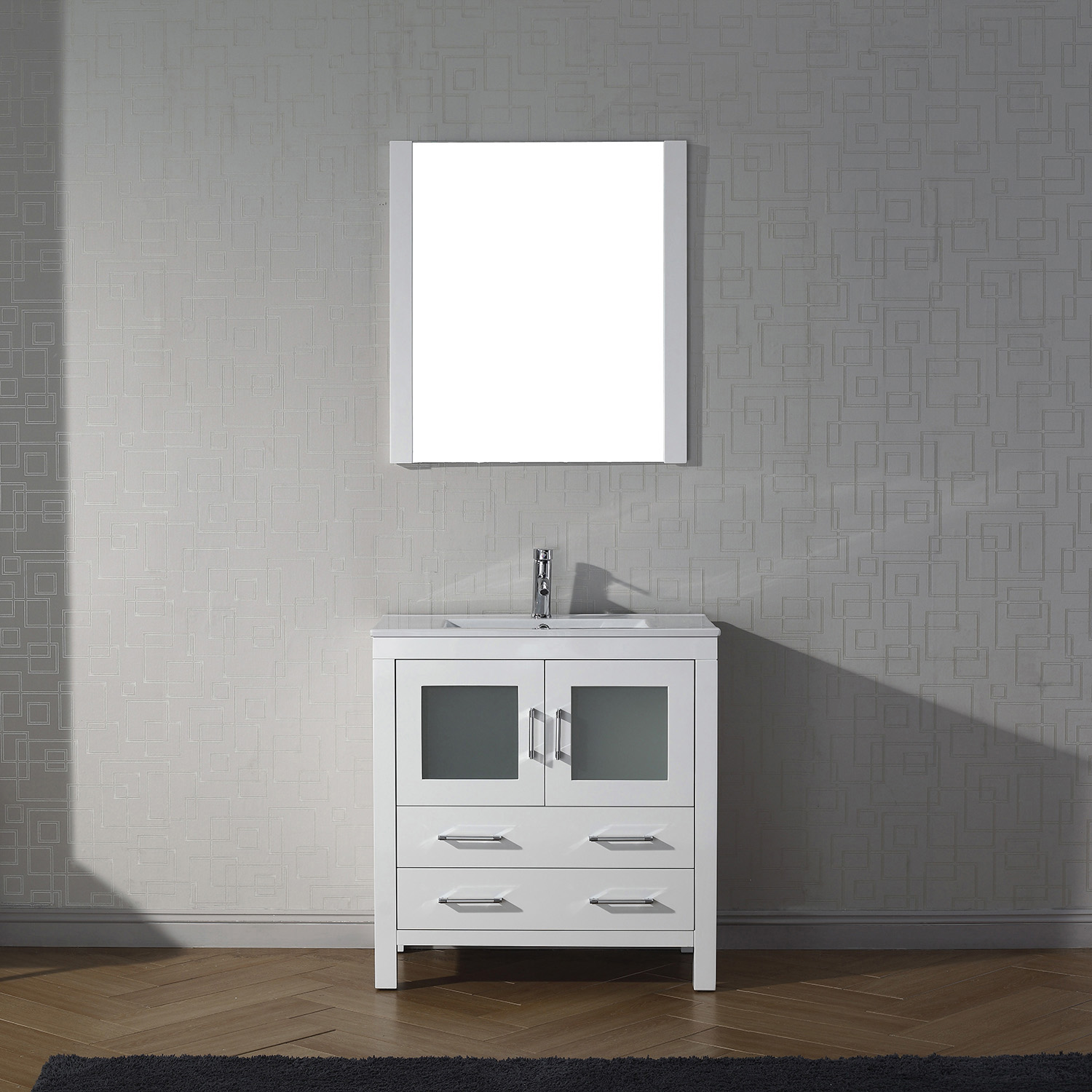 "30"" Cabinet Only in White with Top, Faucet, Mirror and Sink Options"