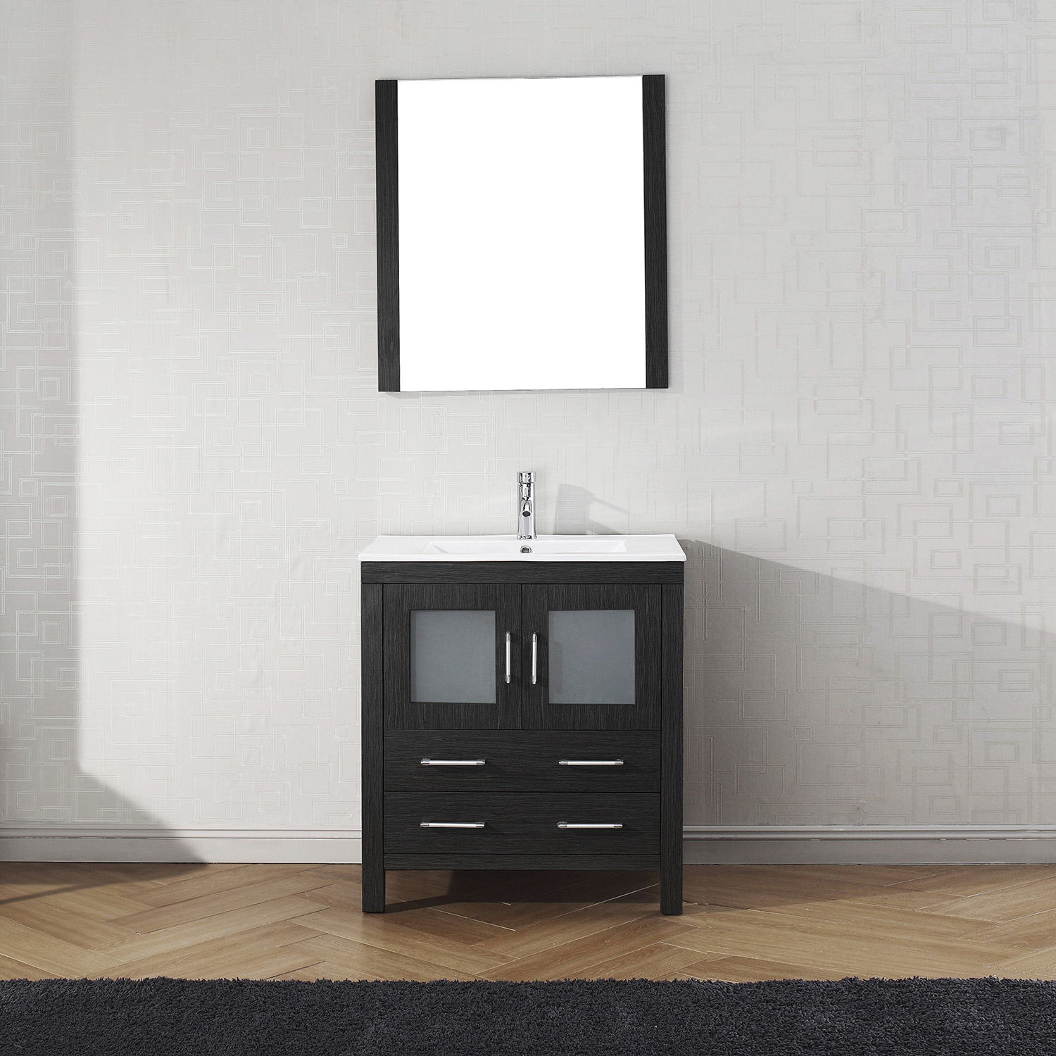 "30"" Cabinet Only in Zebra Grey with Top, Faucet, Mirror and Sink Options"