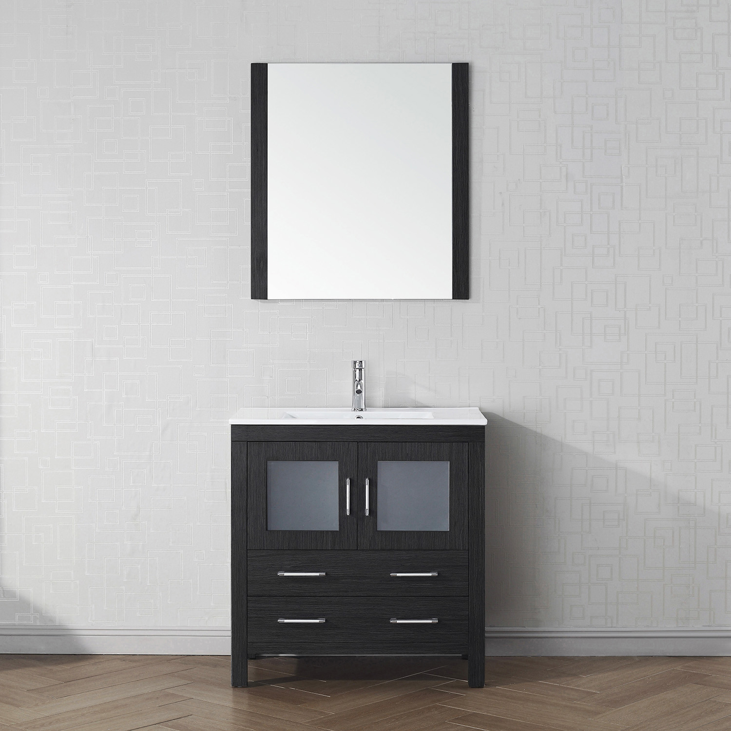 "32"" Cabinet Only in Zebra Grey with Top, Faucet, Mirror and Sink Options"