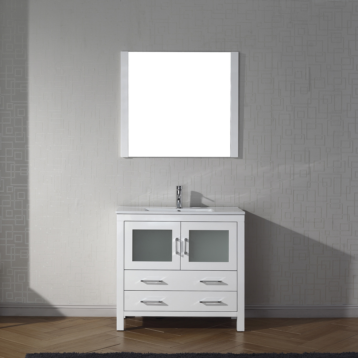 "36"" Cabinet Only in White with Top, Faucet, Mirror and Sink Options"