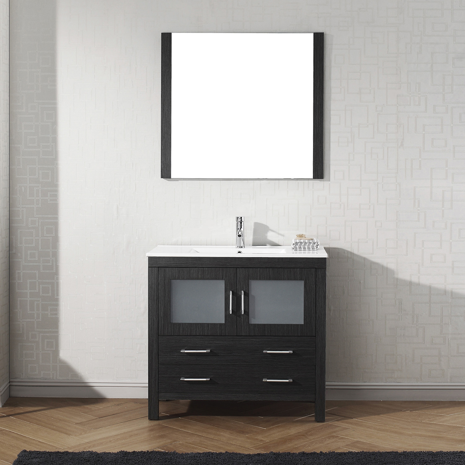 "36"" Cabinet Only in Zebra Grey with Top, Faucet, Mirror and Sink Options"